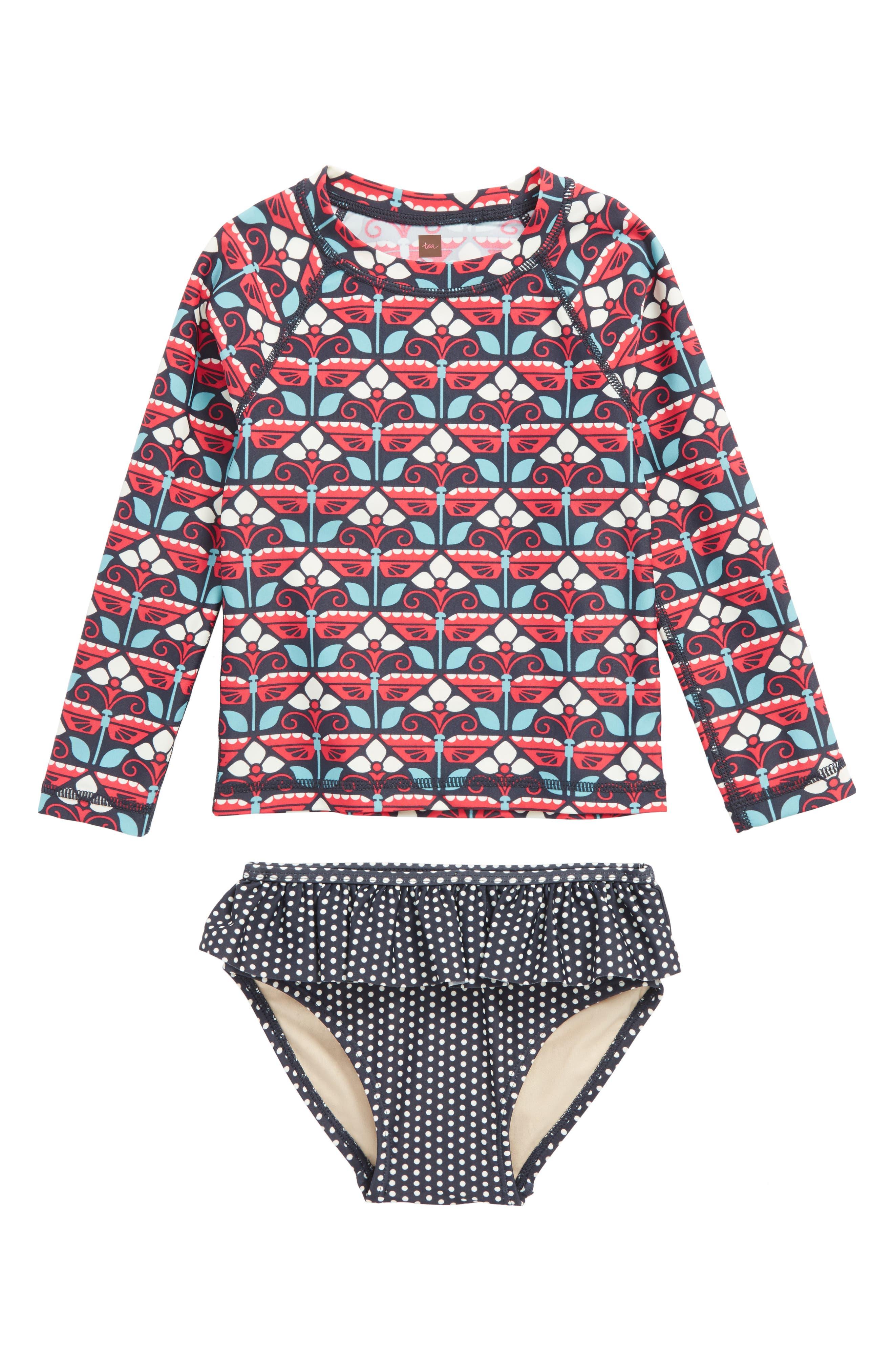 Kaleidoscope Two-Piece Rashguard Swimsuit,                         Main,                         color, 411