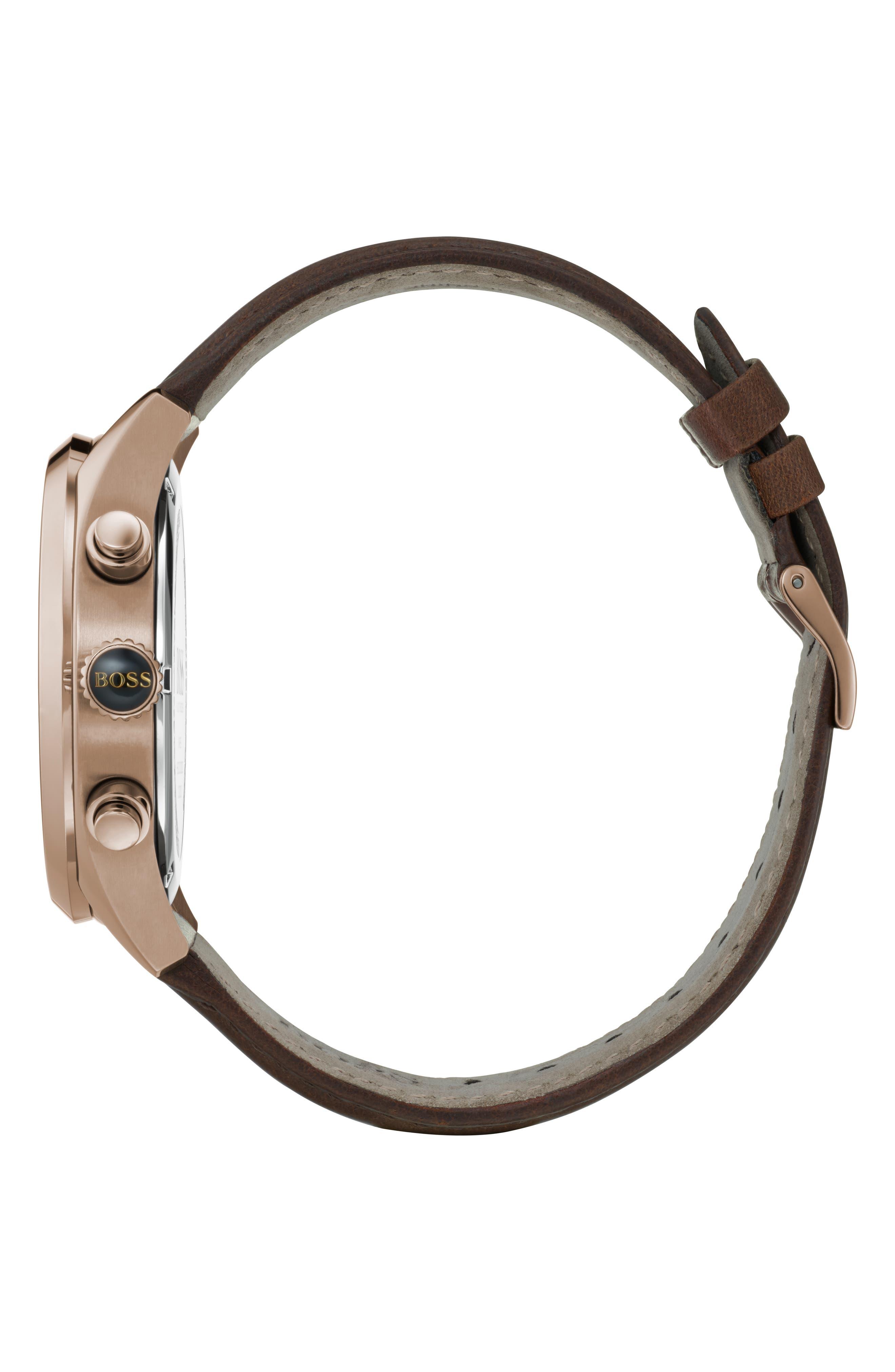 Grand Prix Chronograph Leather Strap Watch, 44mm,                             Alternate thumbnail 3, color,                             BLUE