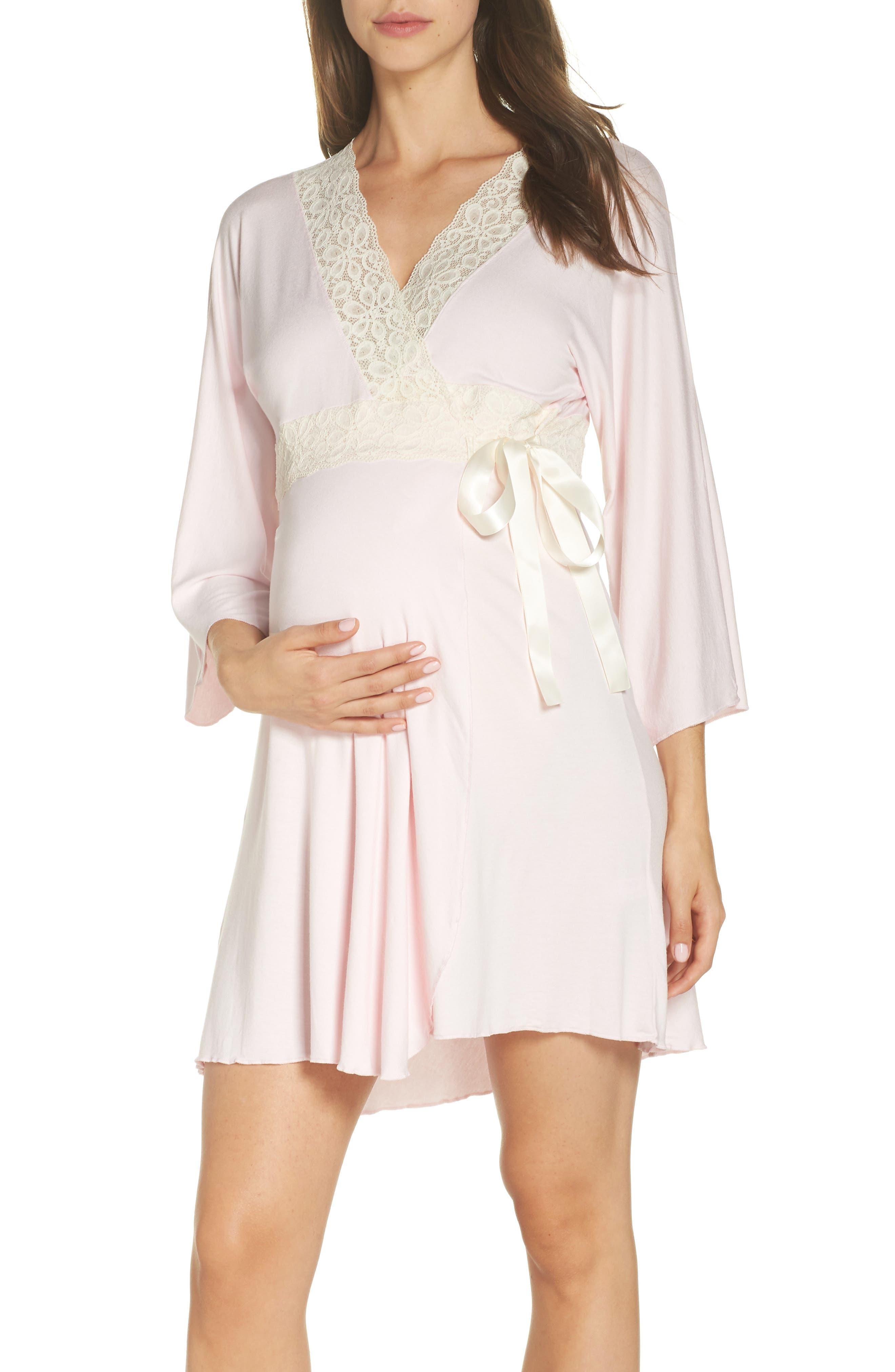 Lace Trim Maternity/Nursing Robe, Main, color, PINK/ PEARL