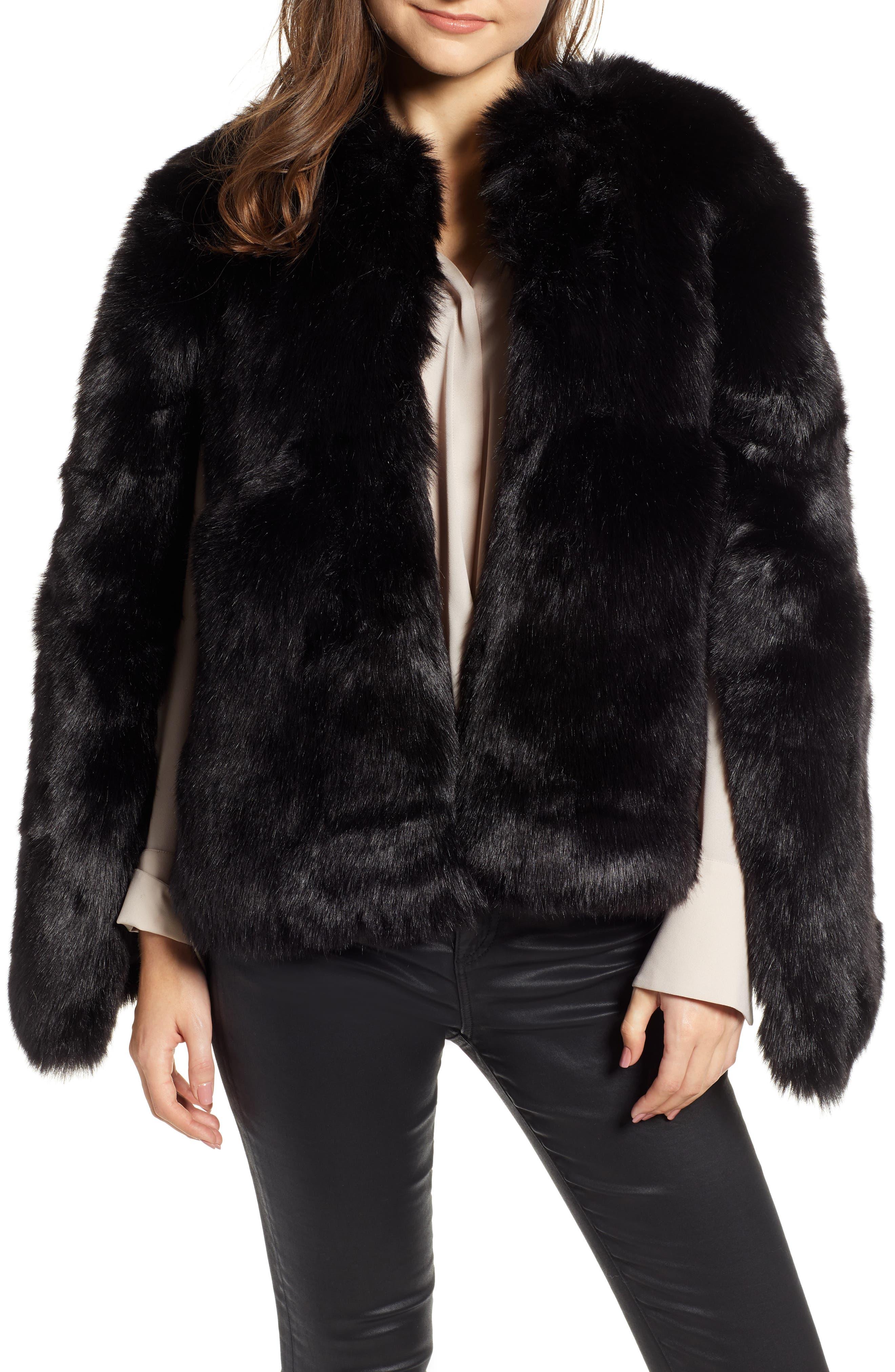 Faux Fur Cape,                         Main,                         color, BLACK SHORT FOX