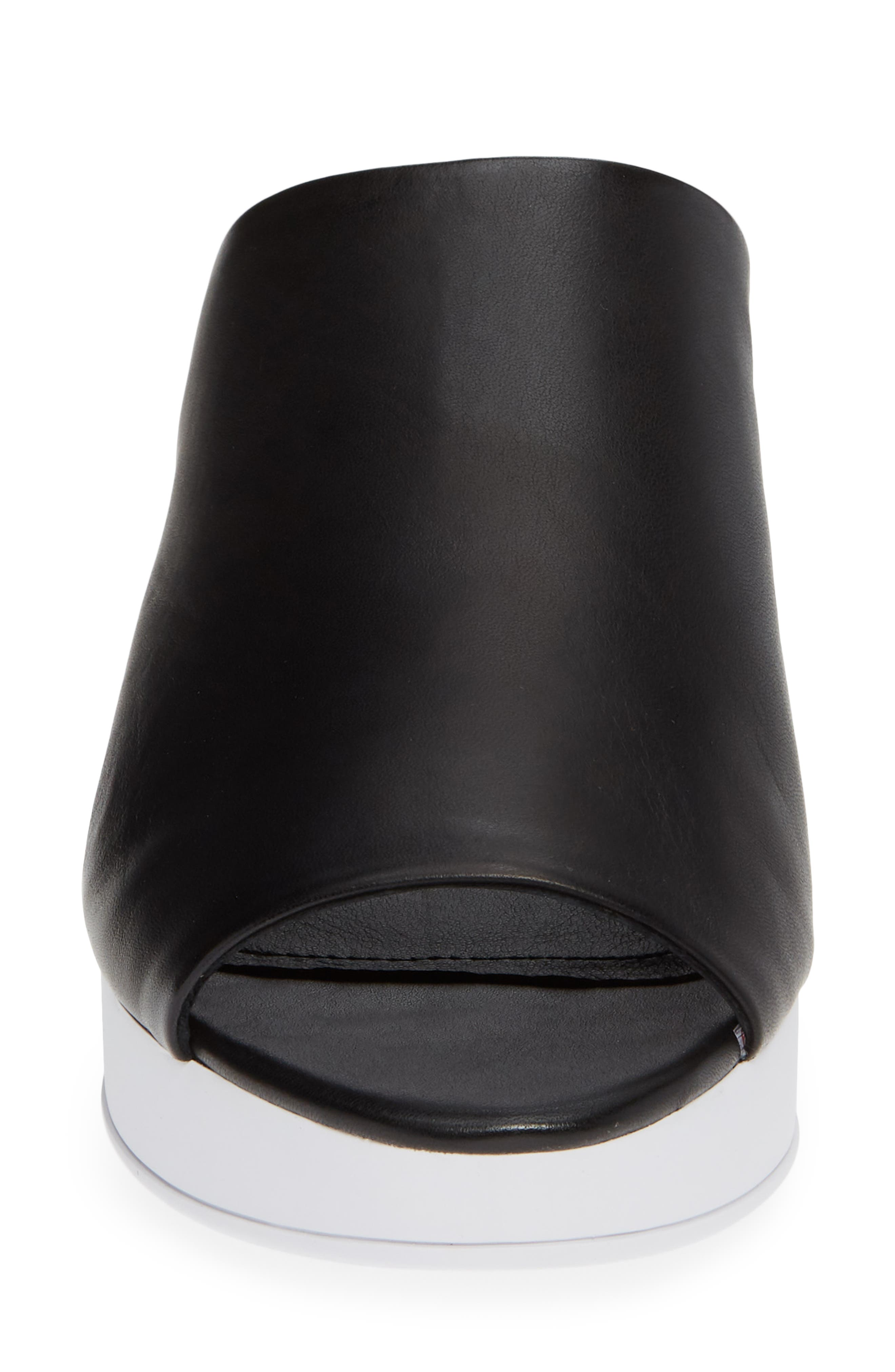 Donna Karan Reisley Wedge Slide Sandal,                             Alternate thumbnail 4, color,                             BLACK LEATHER