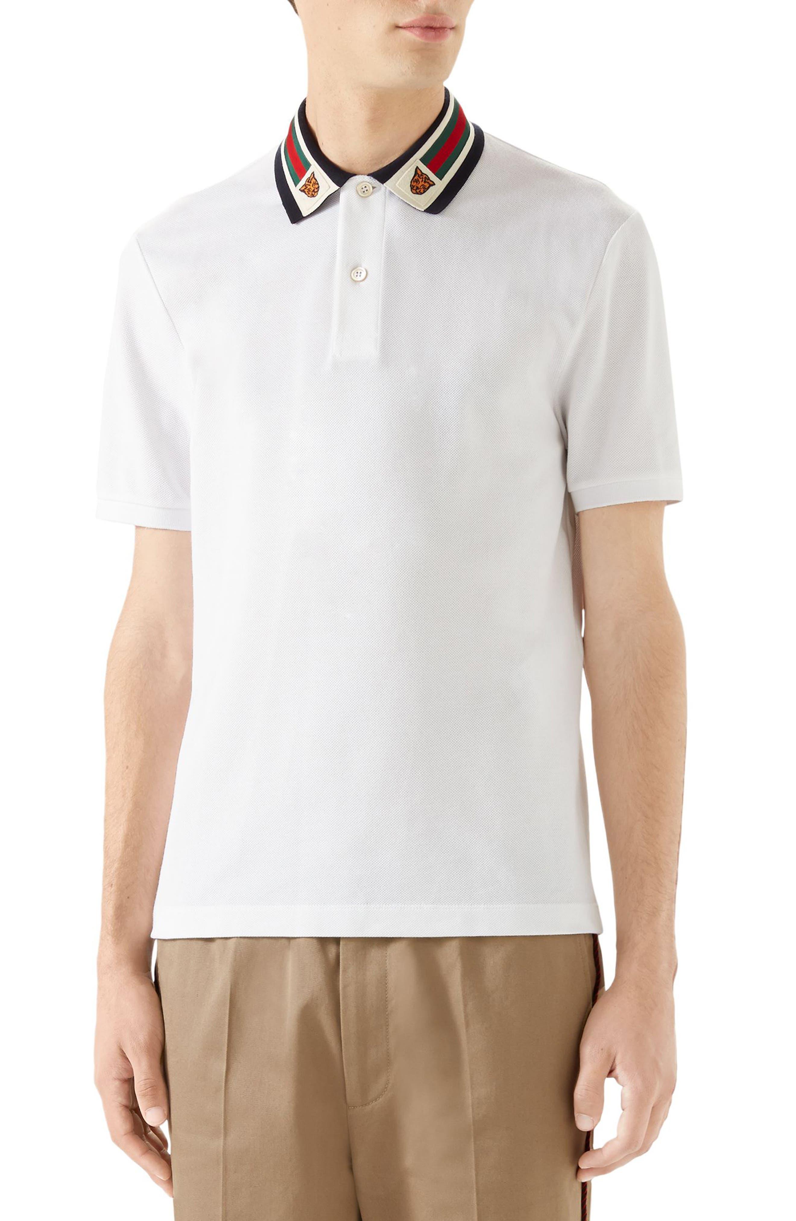 Banding Collar Piqué Polo,                             Main thumbnail 1, color,                             WHITE MULTICOLOR