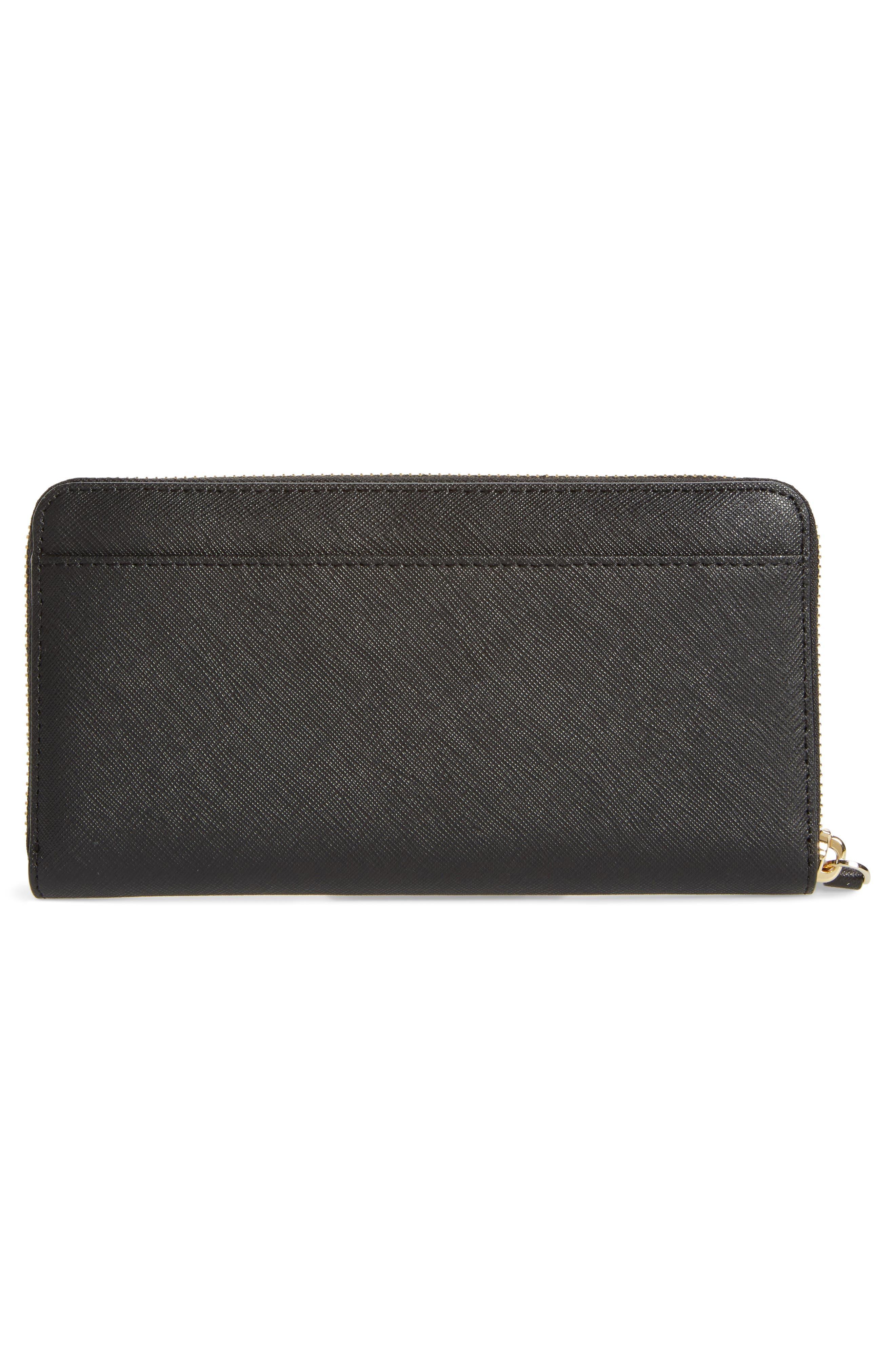 ma chérie - lacey appliqué leather wallet,                             Alternate thumbnail 3, color,                             001