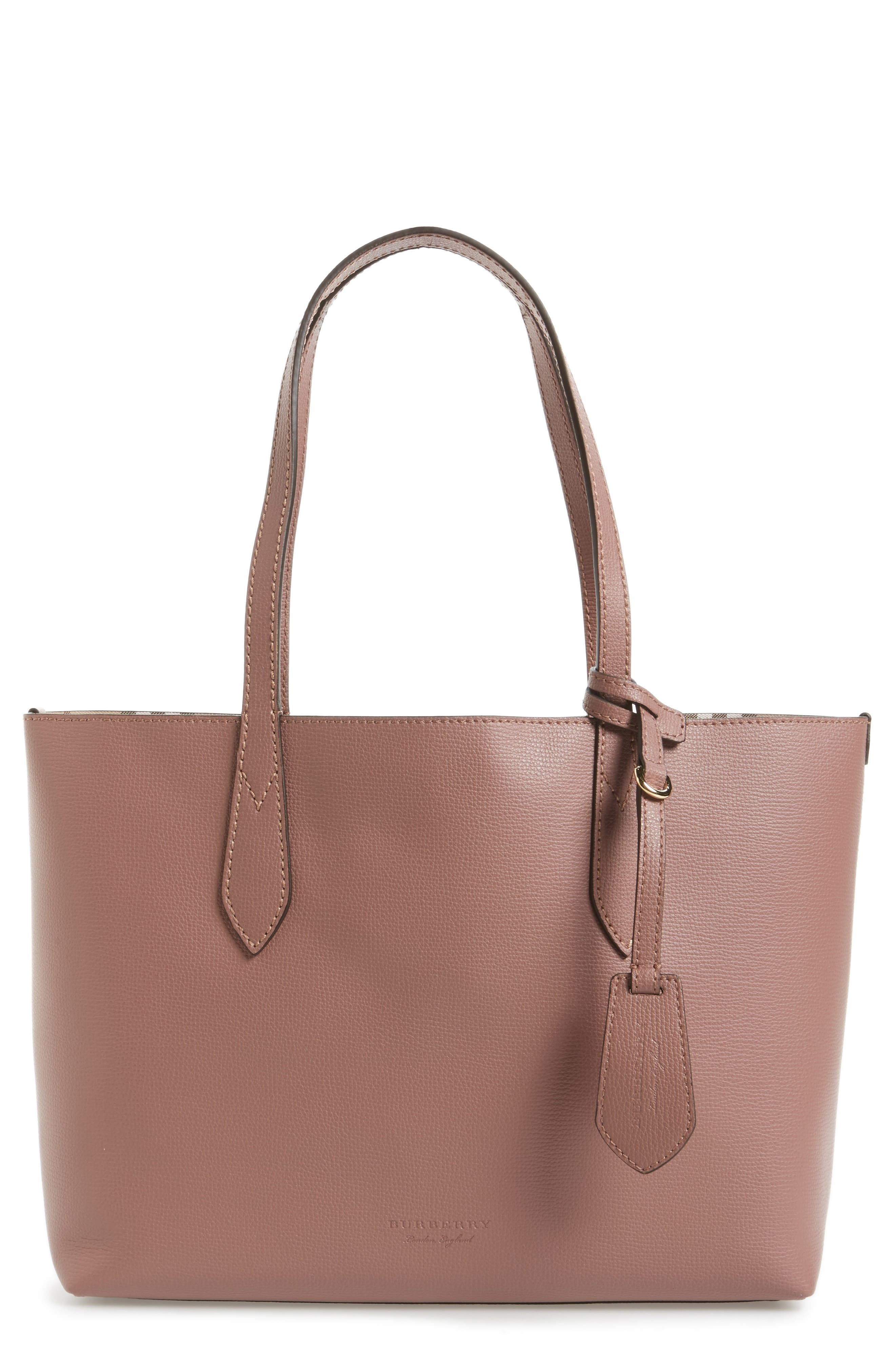 Small Reversible Haymarket Check & Leather Tote,                             Main thumbnail 1, color,                             512