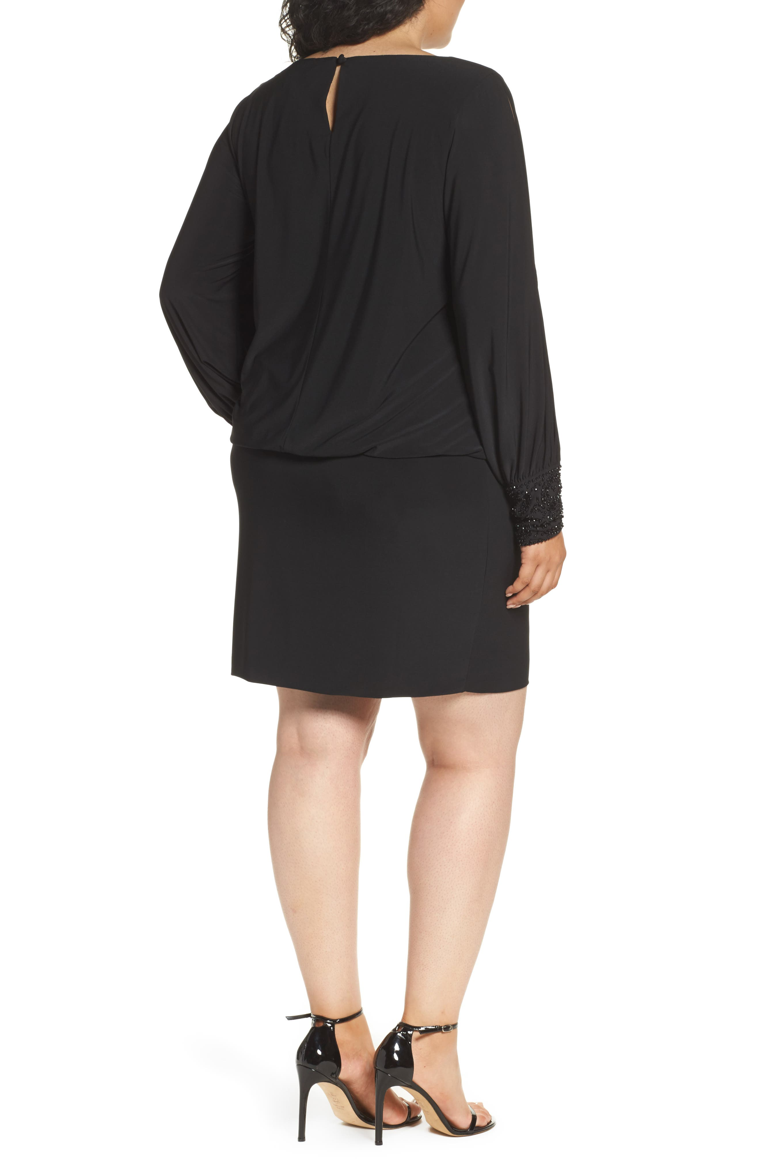 Embellished Cuff Blouson Jersey Dress,                             Alternate thumbnail 3, color,                             BLACK