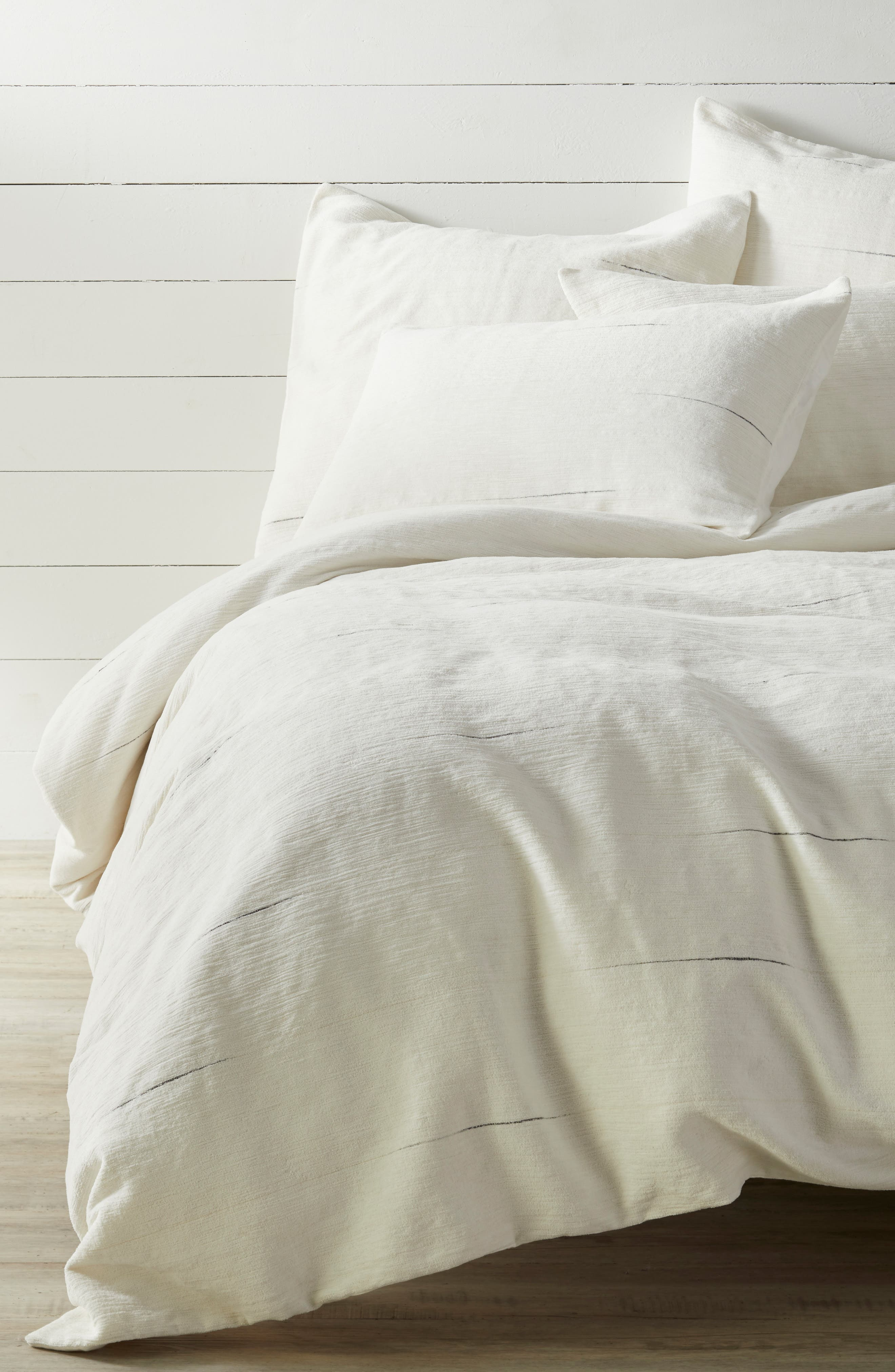 Space Dyed Stripe Duvet Cover,                             Main thumbnail 1, color,                             IVORY MULTI