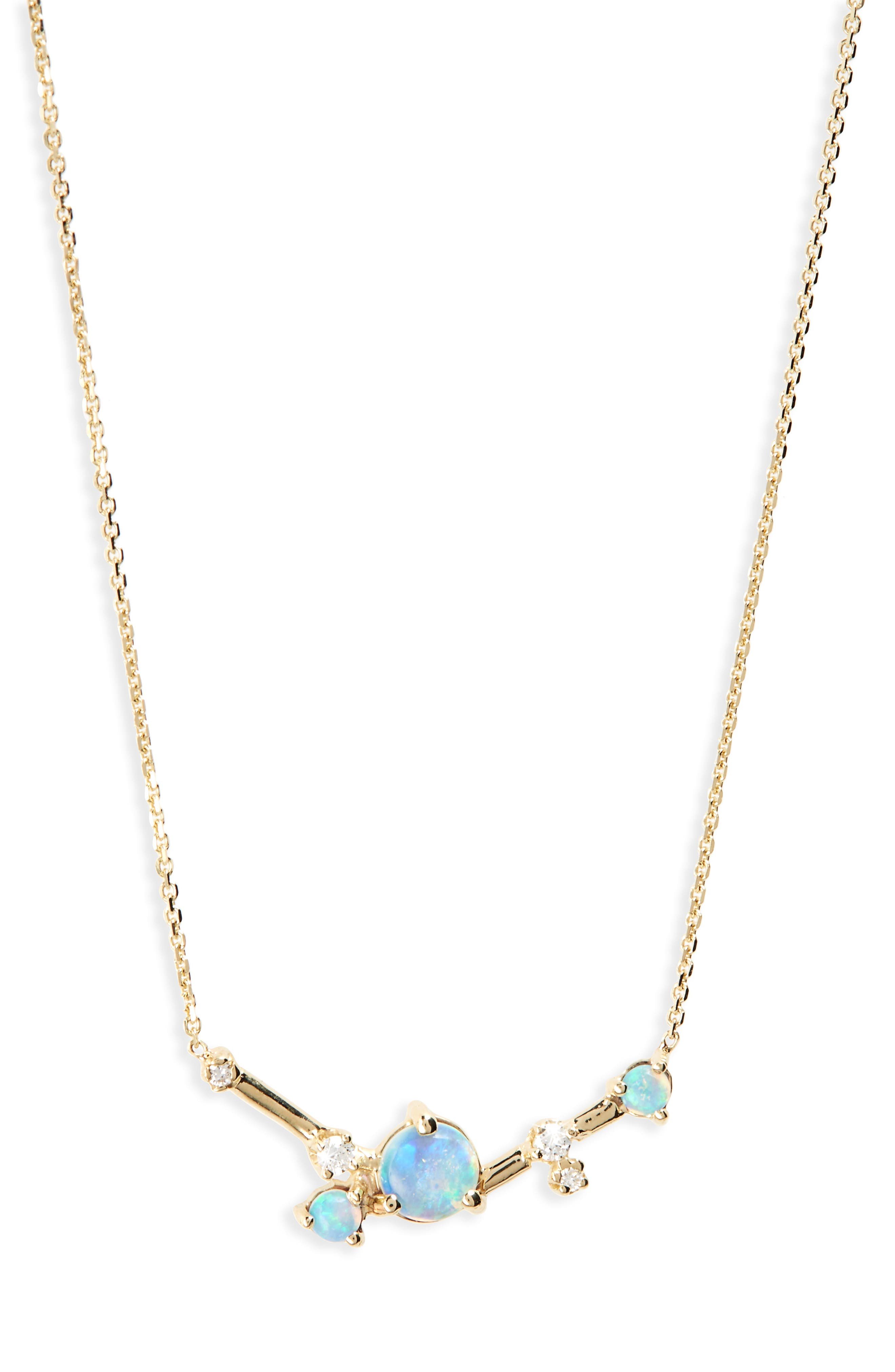 Organic Triangle Opal & Diamond Necklace,                             Main thumbnail 1, color,                             WHITE DIAMOND/ GOLD