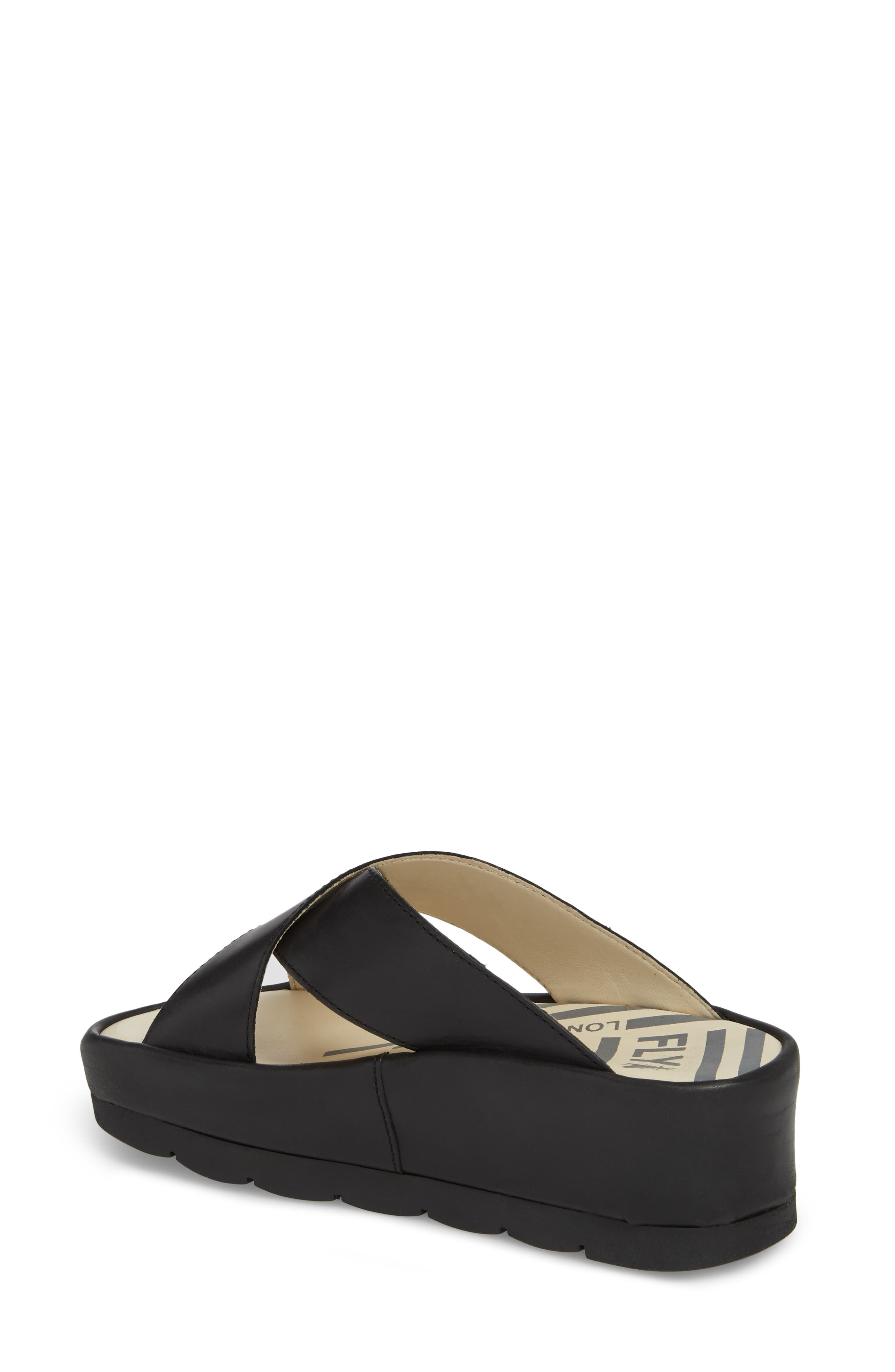 Begs Platform Slide Sandal,                             Alternate thumbnail 2, color,                             BLACK RUG LEATHER