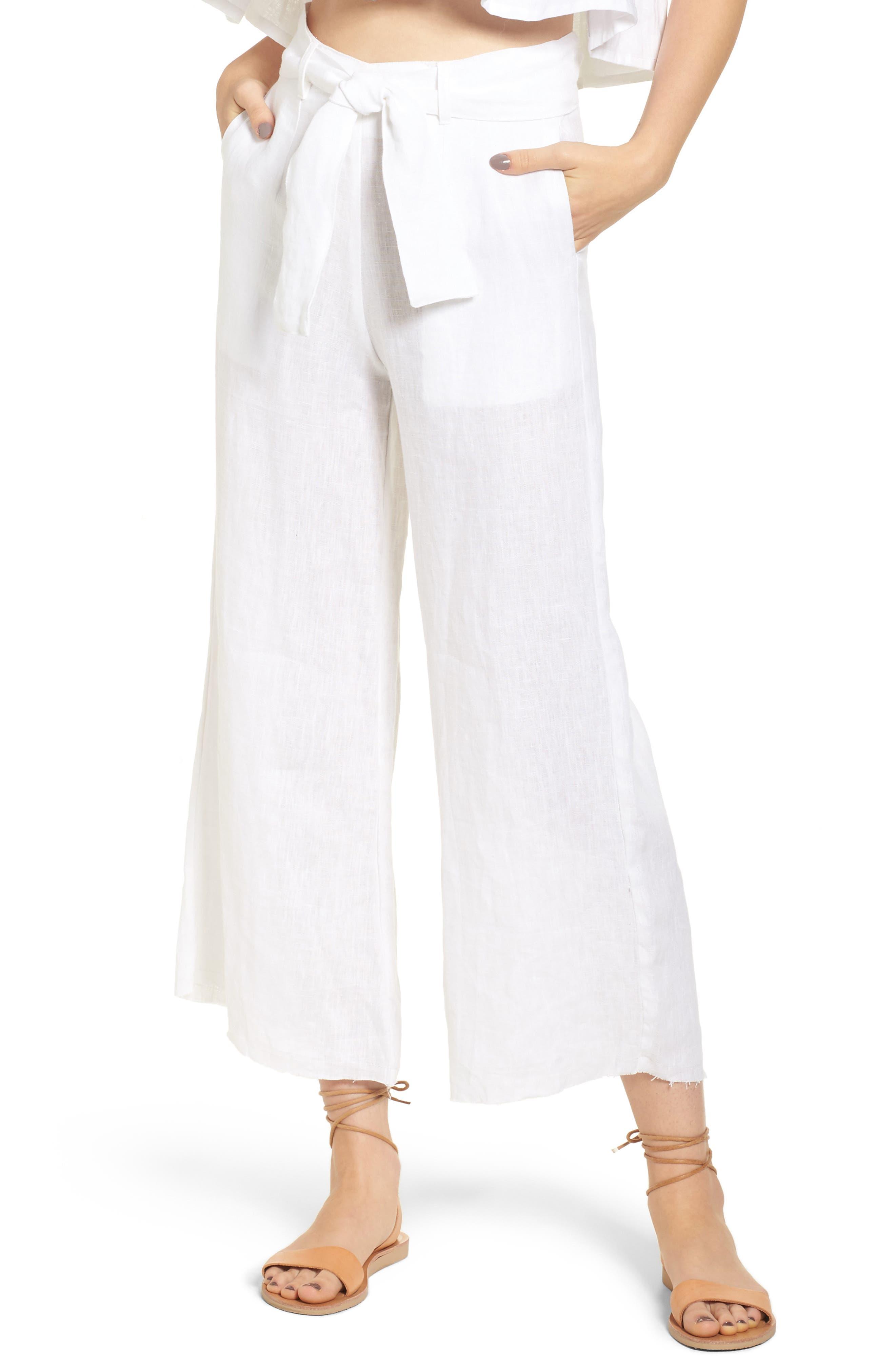 Como Crop Wide Leg Linen Pants, Main, color, 100