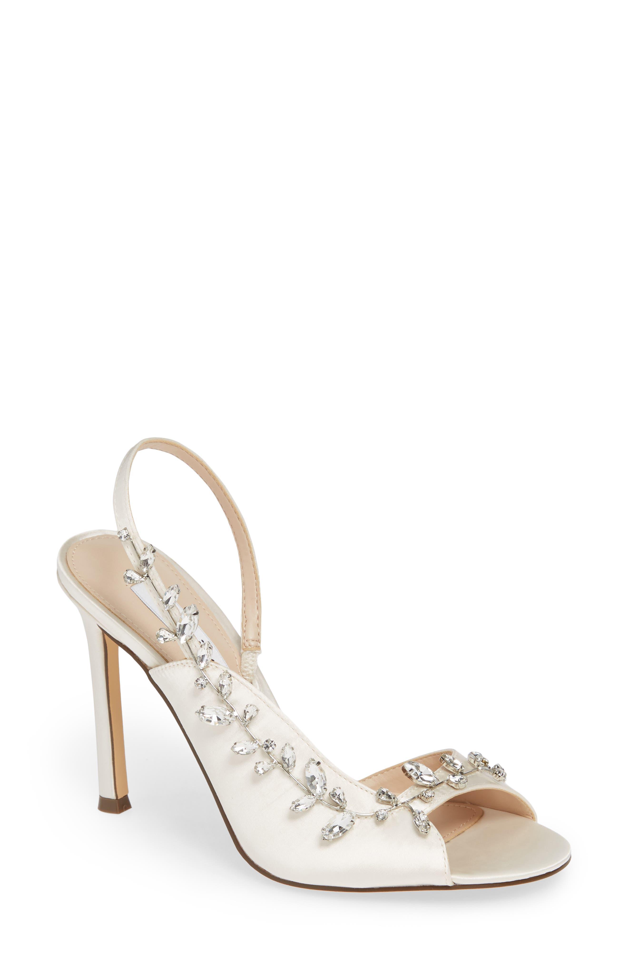 Nina Deanna Embellished Sandal, Ivory