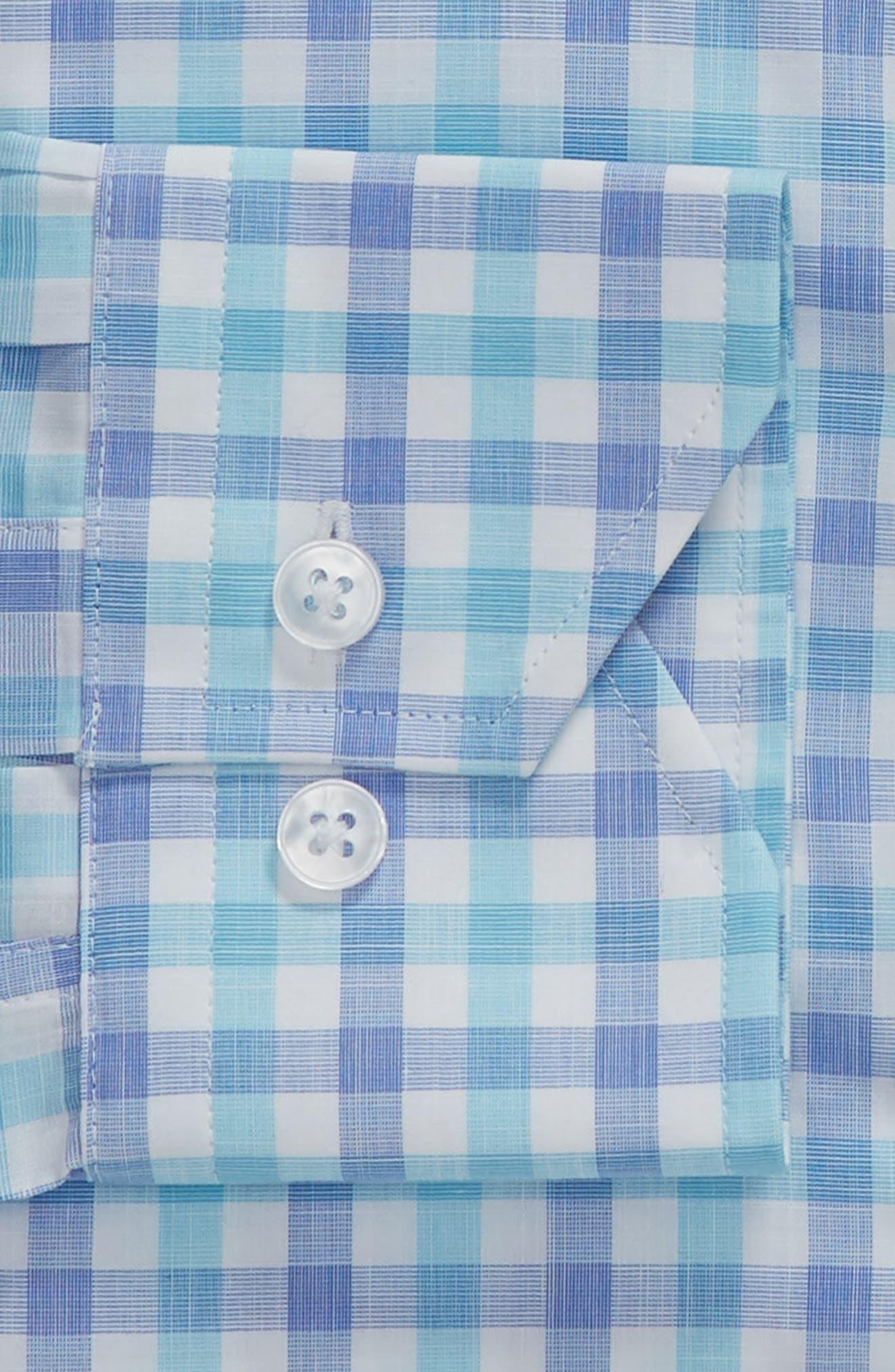 Trim Fit Check Dress Shirt,                             Alternate thumbnail 6, color,                             439