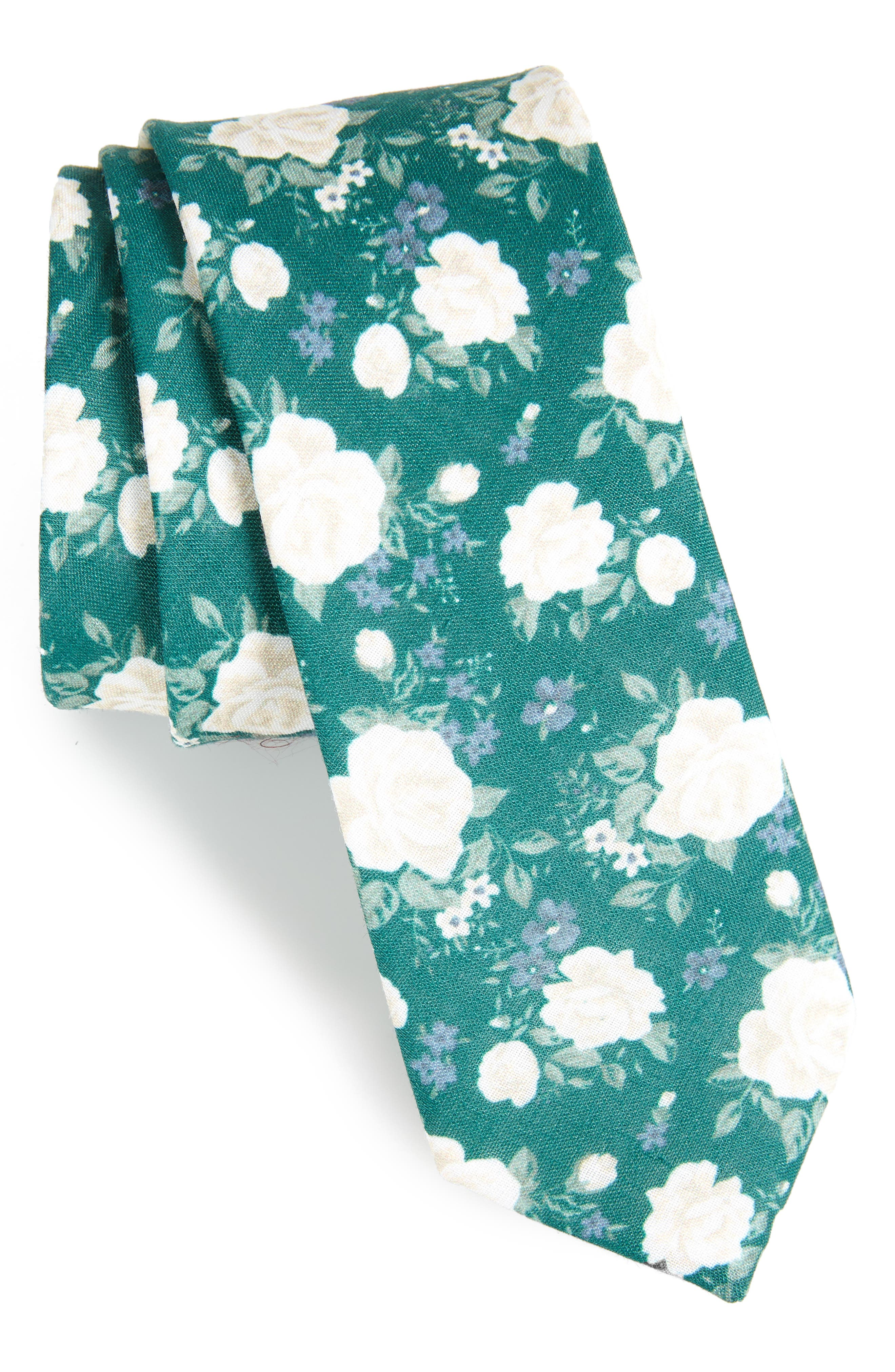 Hodgkiss Flowers Linen Tie,                             Main thumbnail 1, color,                             HUNTER GREEN