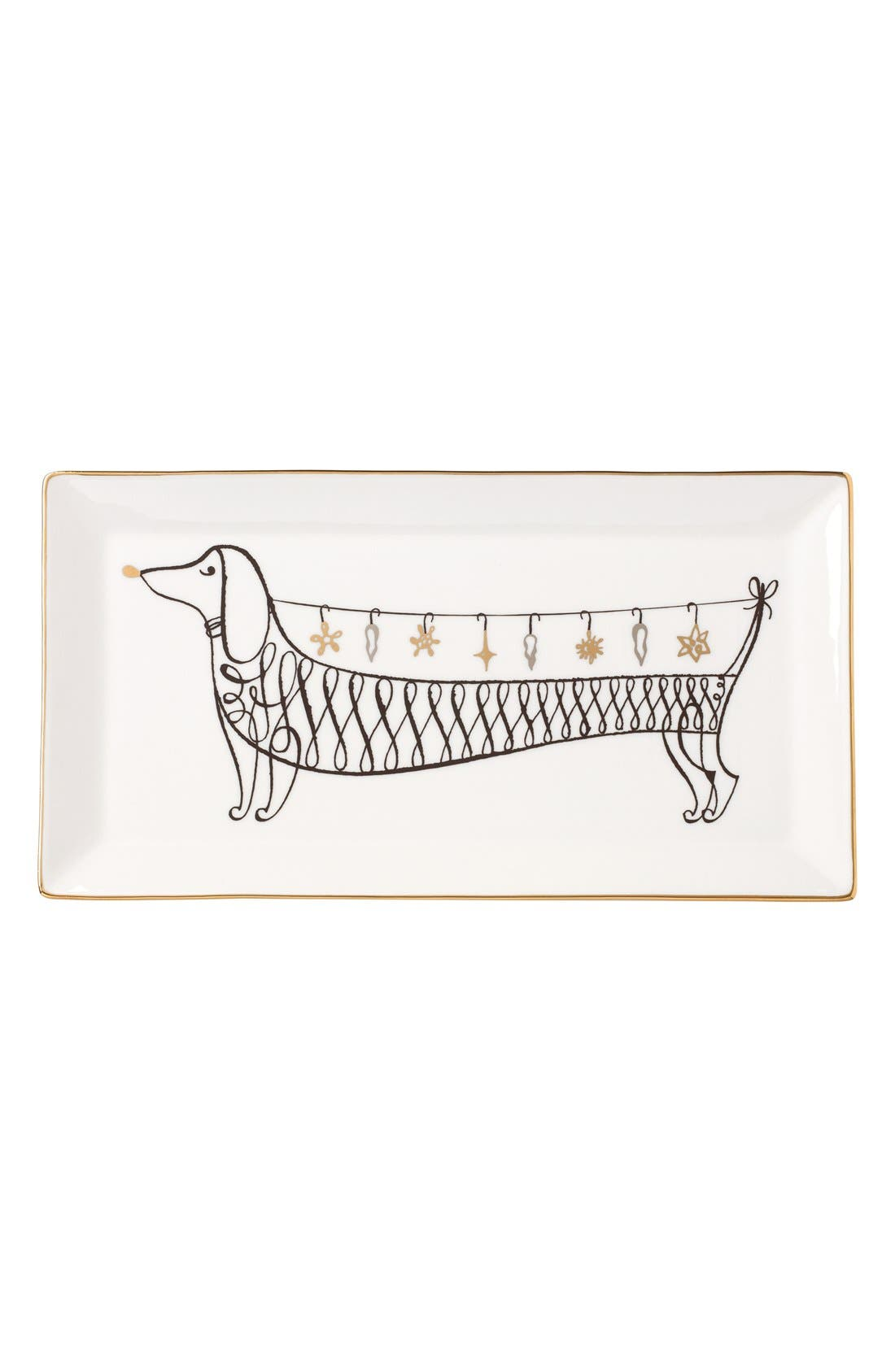 dachshund decorative porcelain tray,                             Main thumbnail 2, color,