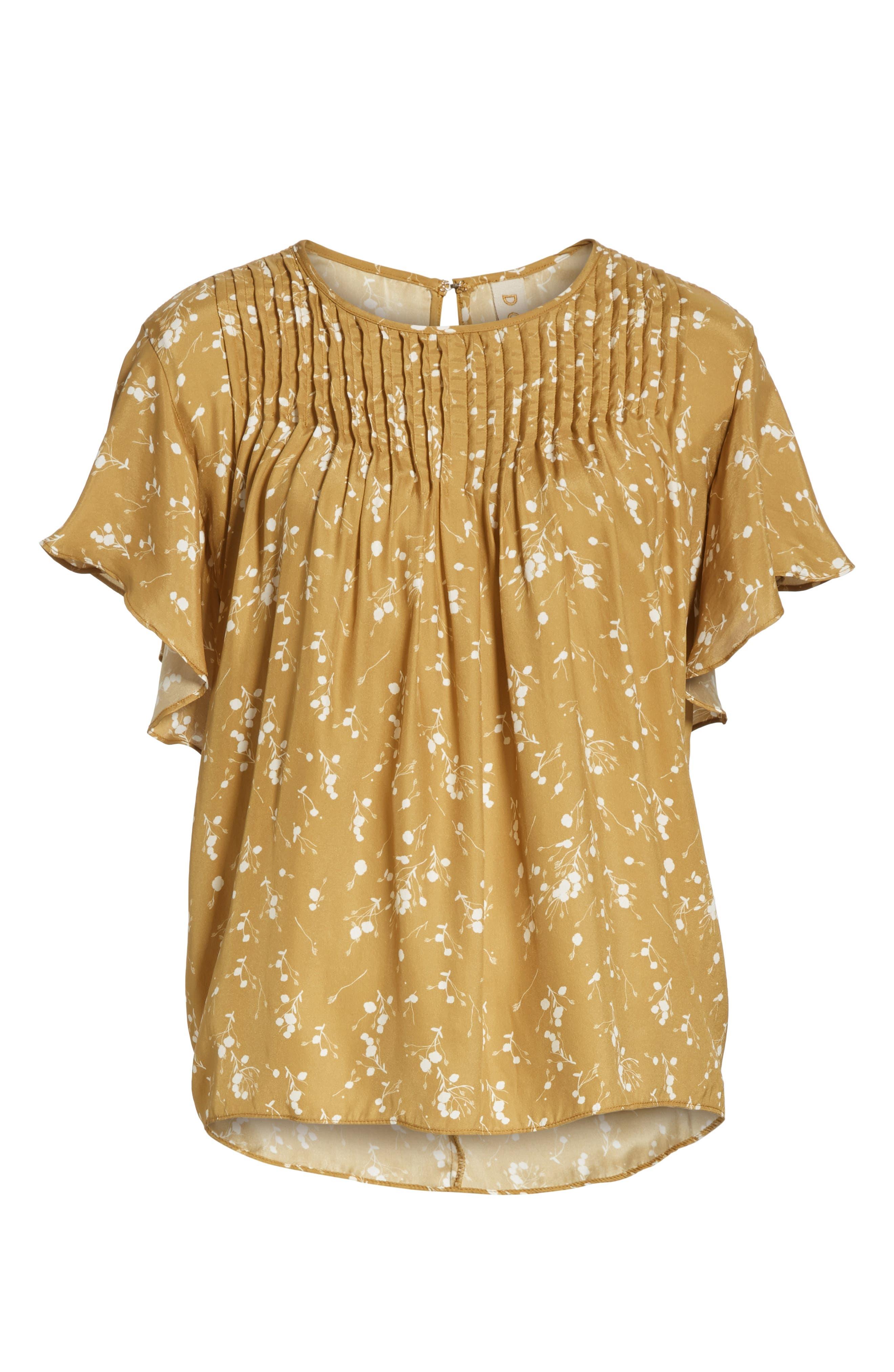 Murray Pintuck Flutter Sleeve Silk Blouse,                             Alternate thumbnail 6, color,                             GOLD PLUM BLOSSOM