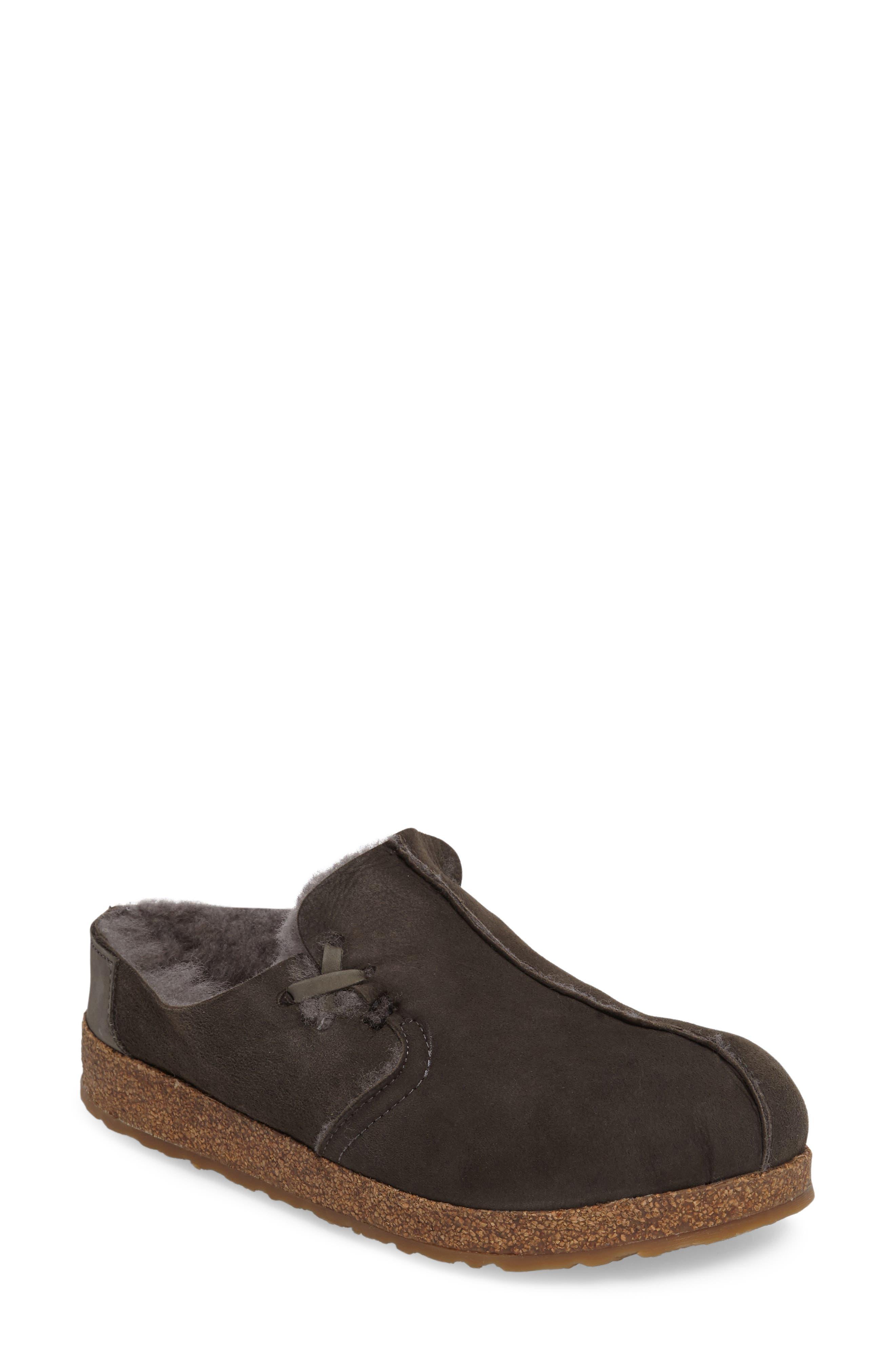 Saskatchewan Slipper,                         Main,                         color, SLATE SHEARLING FABRIC