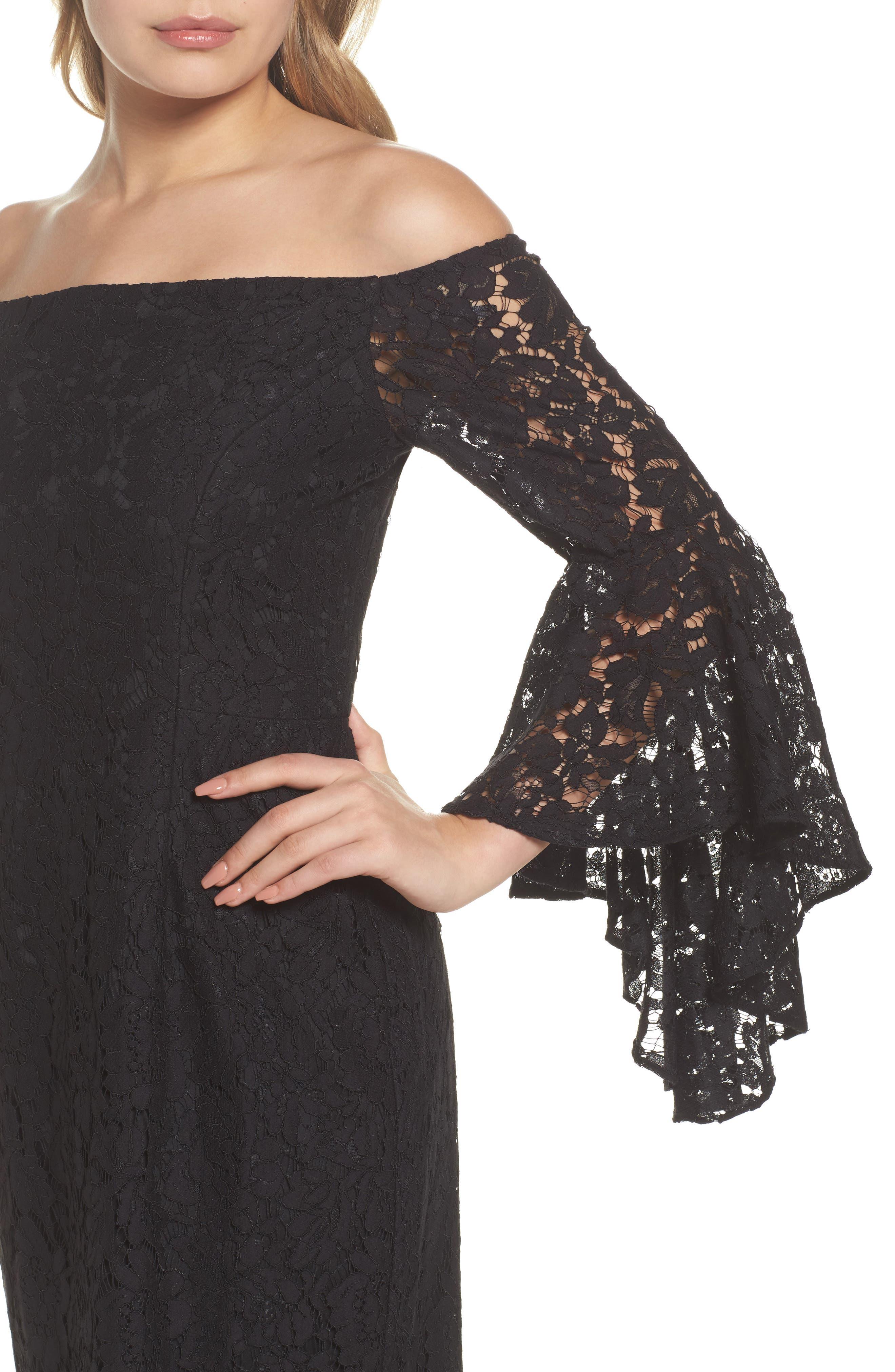 Off the Shoulder Lace Dress,                             Alternate thumbnail 4, color,                             001
