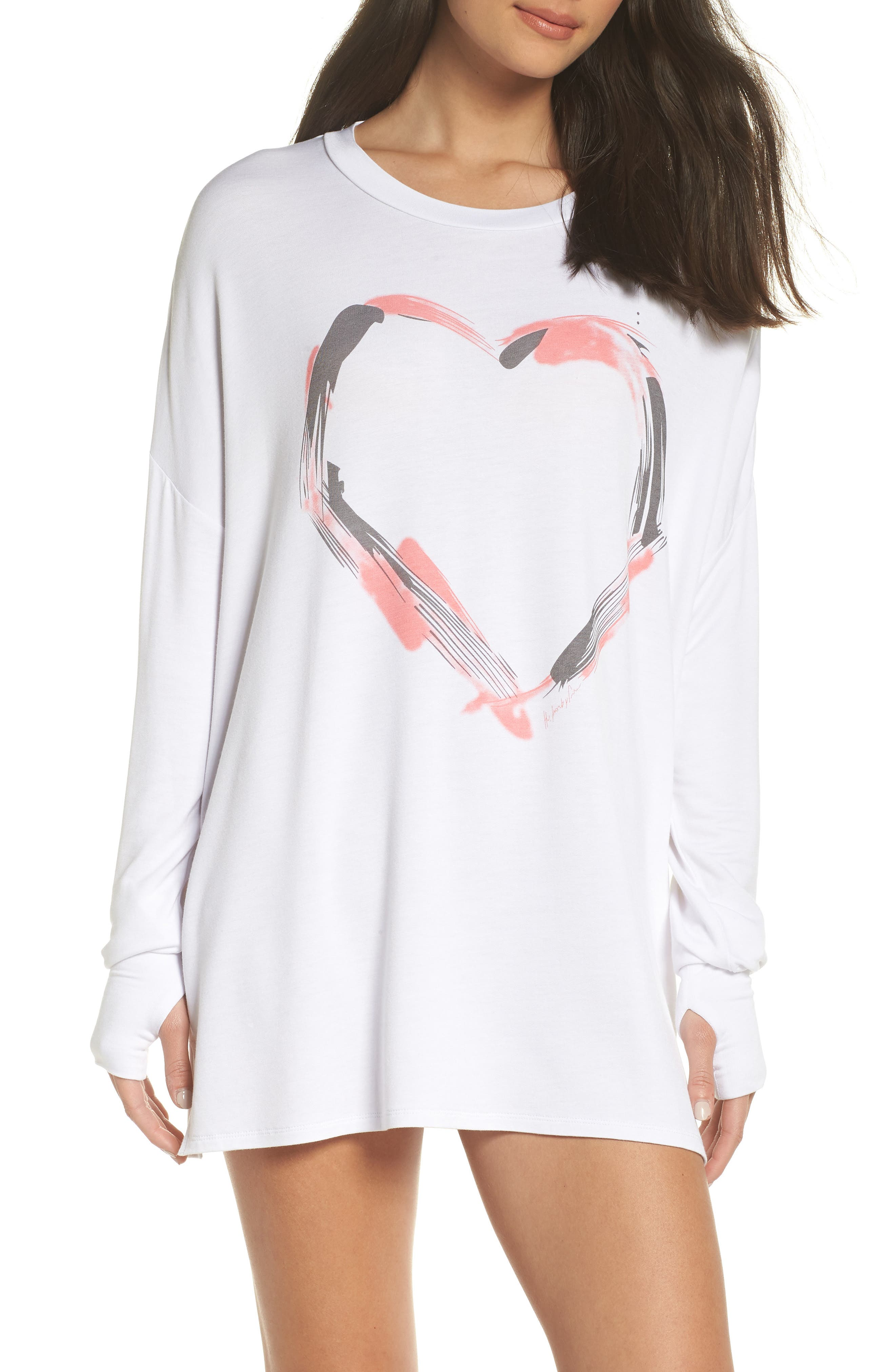 Heart Strokes Sleep Shirt,                             Main thumbnail 1, color,                             WHITE