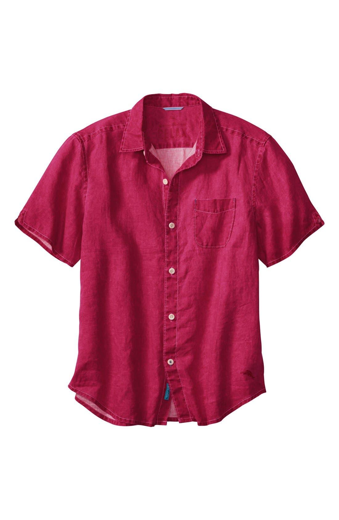 Seaglass Breezer Short Sleeve Linen Sport Shirt,                             Main thumbnail 18, color,