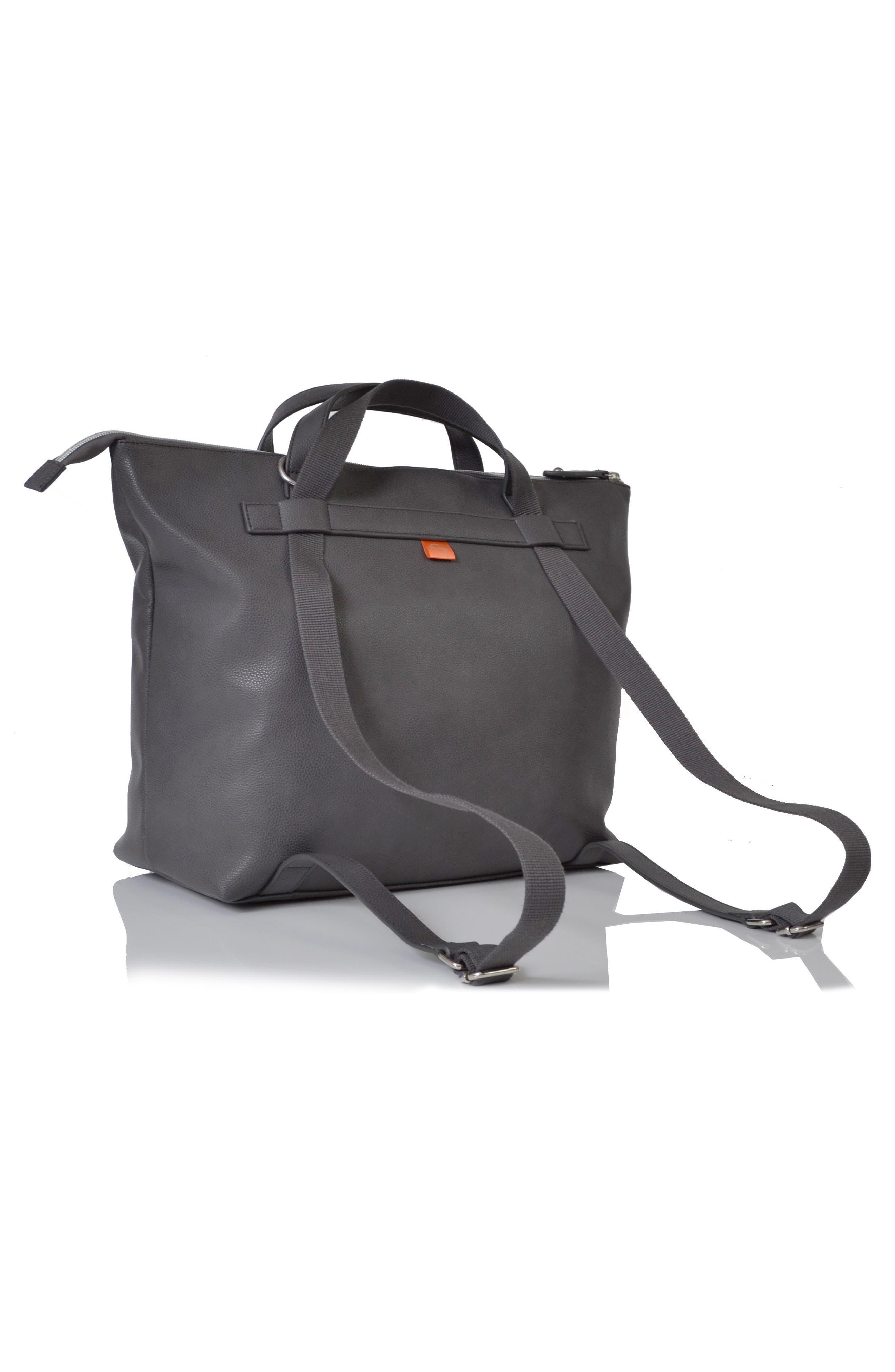 Saunton Faux Leather Convertible Diaper Backpack,                             Alternate thumbnail 5, color,                             PEWTER