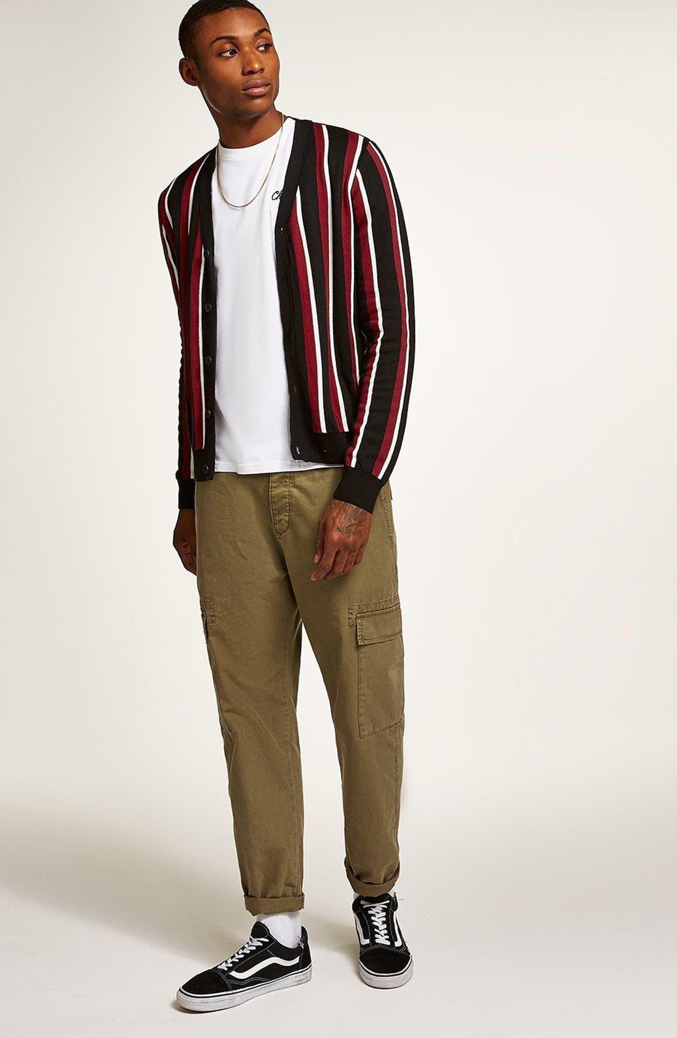 Slim Fit Stripe Cardigan,                             Alternate thumbnail 5, color,                             001