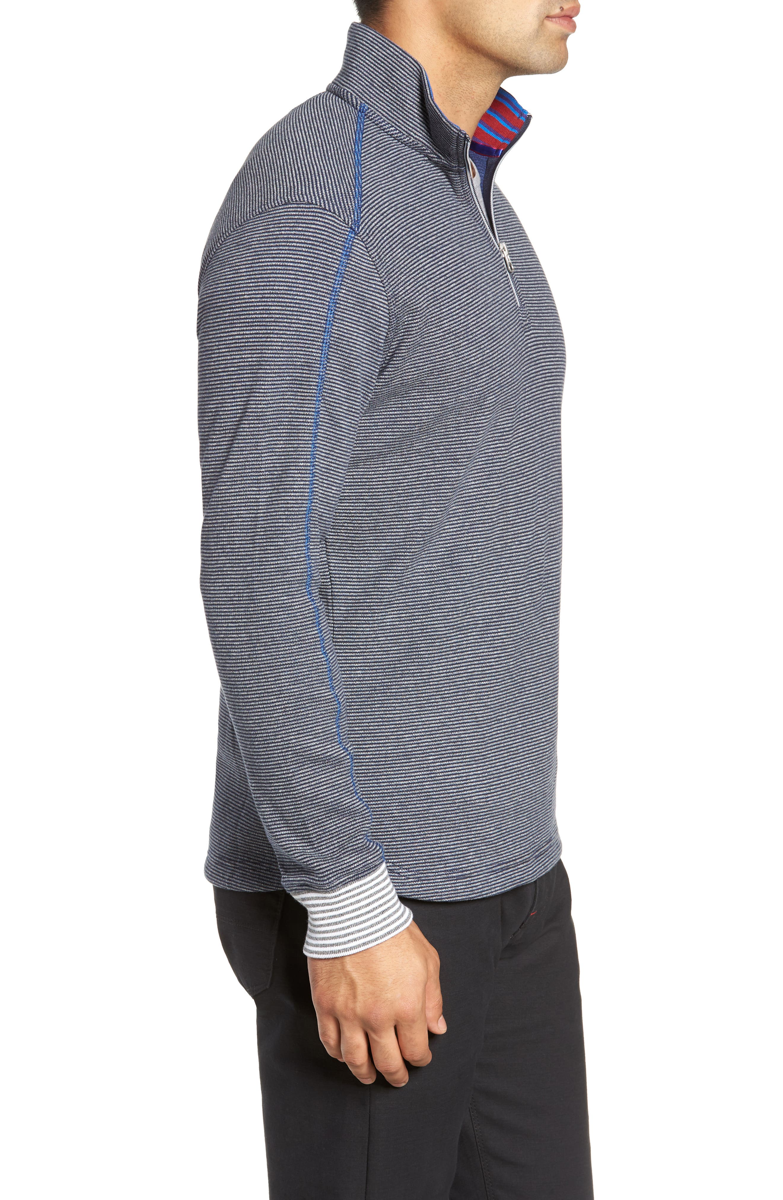 Kitson Classic Fit Stripe Quarter Zip Sweater,                             Alternate thumbnail 3, color,                             HEATHER NAVY