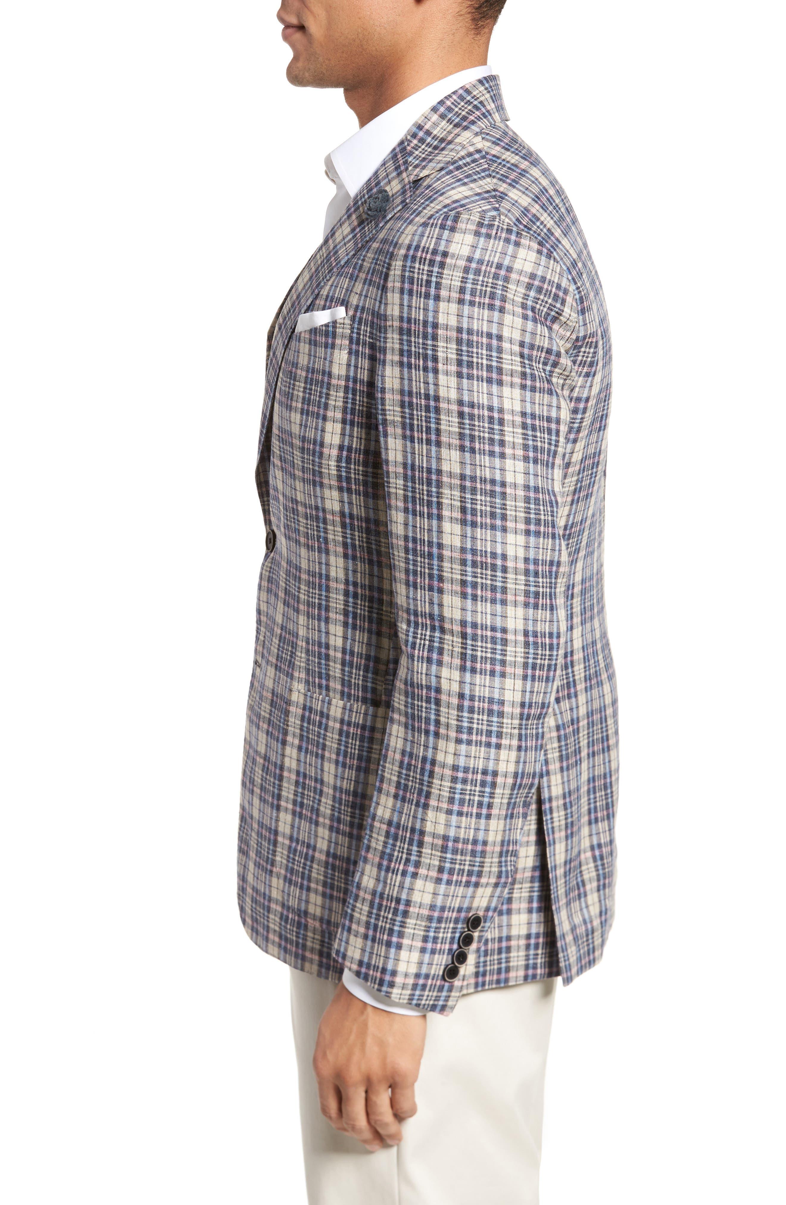 Trim Fit Plaid Linen Sport Coat,                             Alternate thumbnail 3, color,                             250