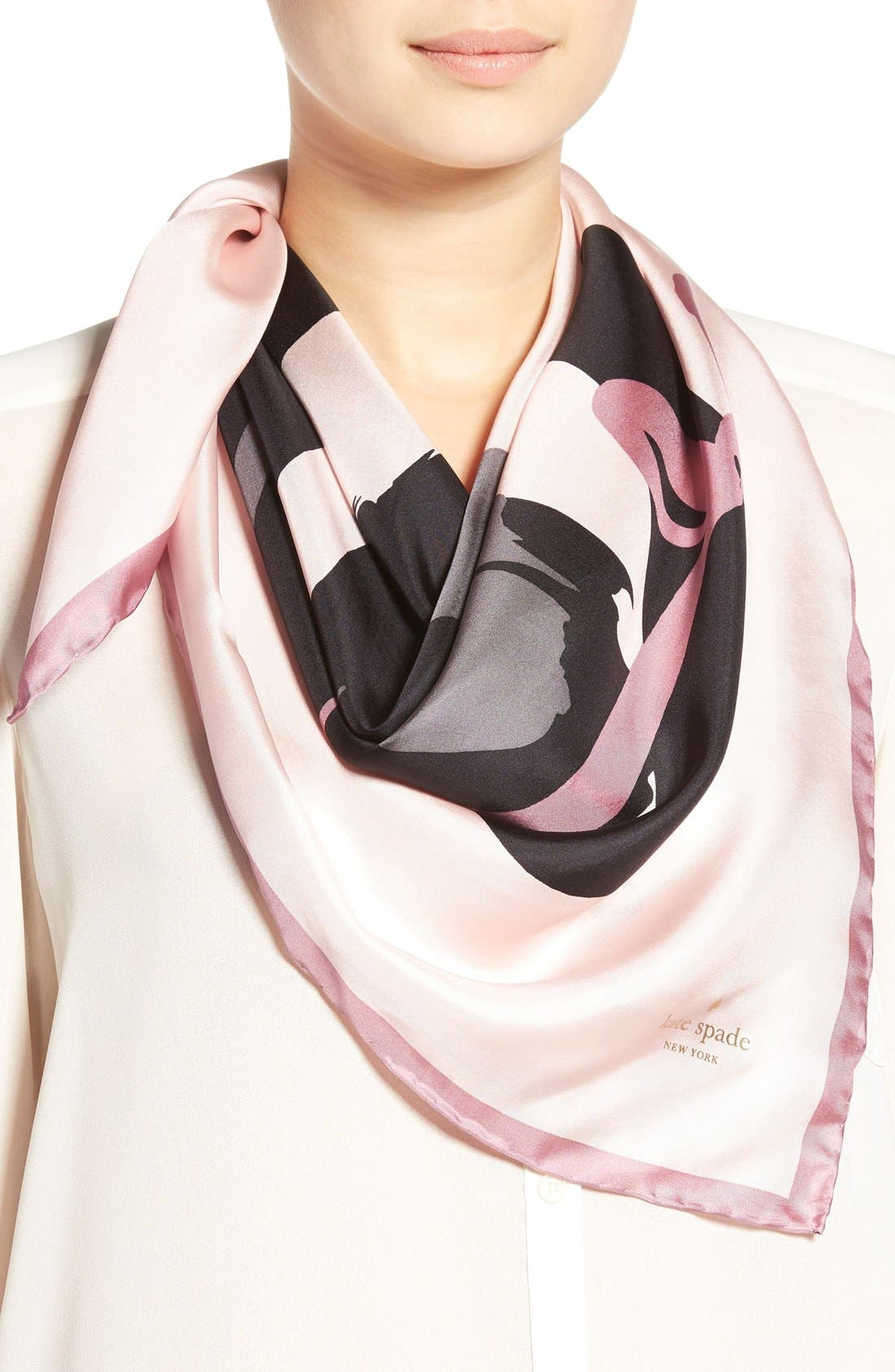 'swan around' silk scarf,                             Main thumbnail 1, color,                             001