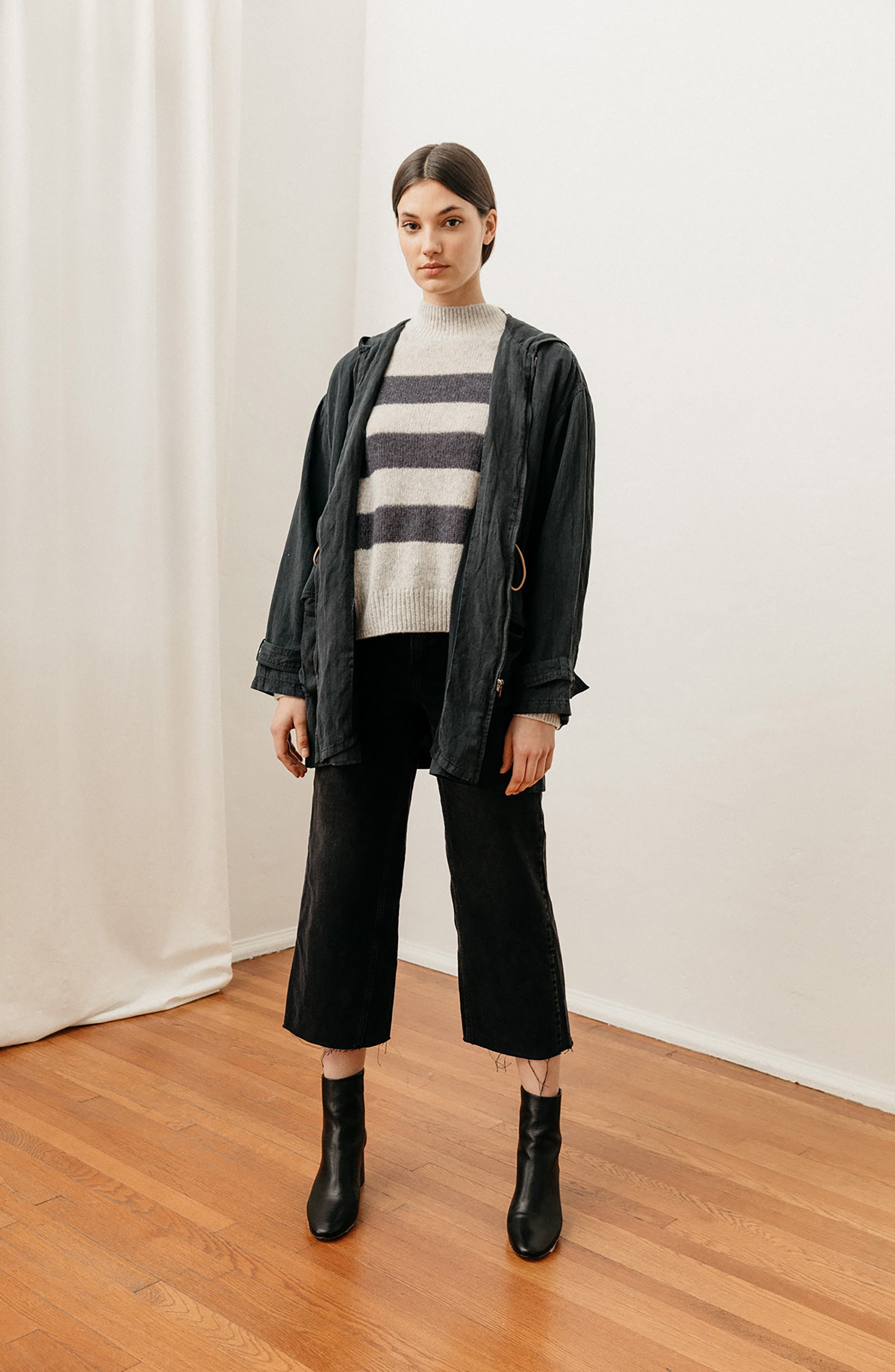 Ellise Stripe Silk & Cashmere Blend Sweater,                             Alternate thumbnail 9, color,                             MIST INDIGO