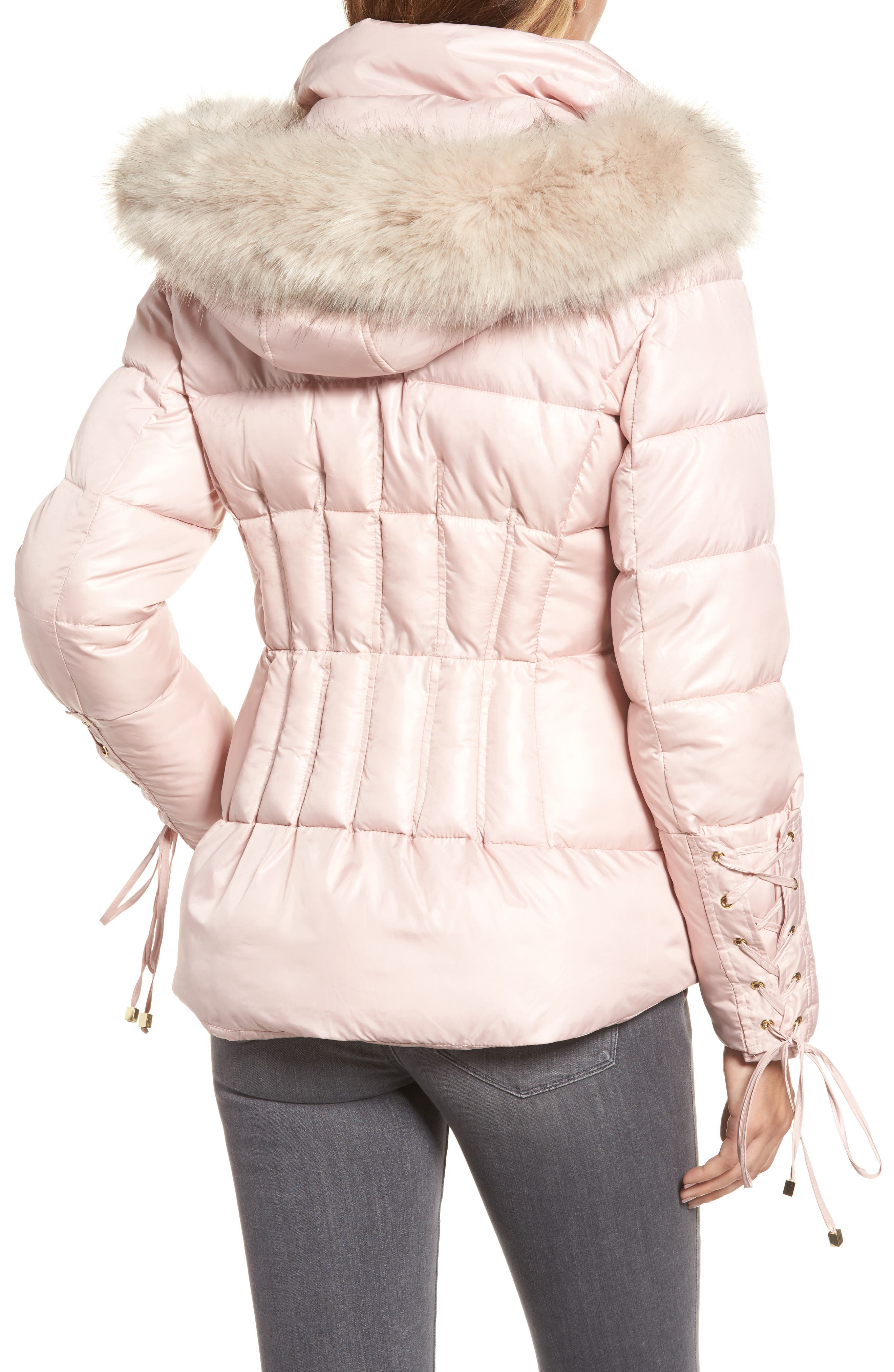 Lace Sleeve Puffer Coat with Faux Fur Trim Hood,                             Alternate thumbnail 4, color,
