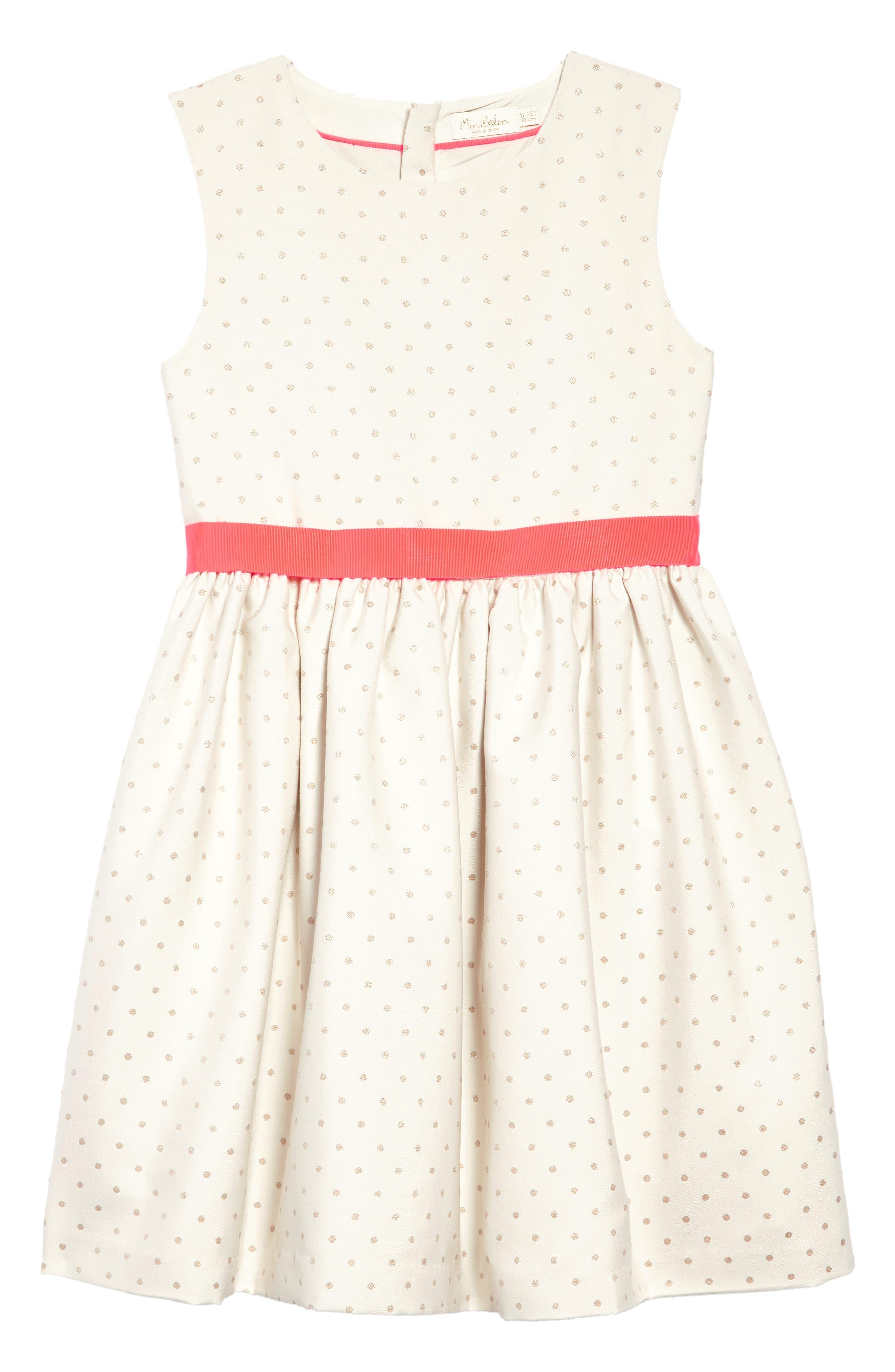 MINI BODEN,                             Metallic Dot Fit & Flare Dress,                             Main thumbnail 1, color,                             909