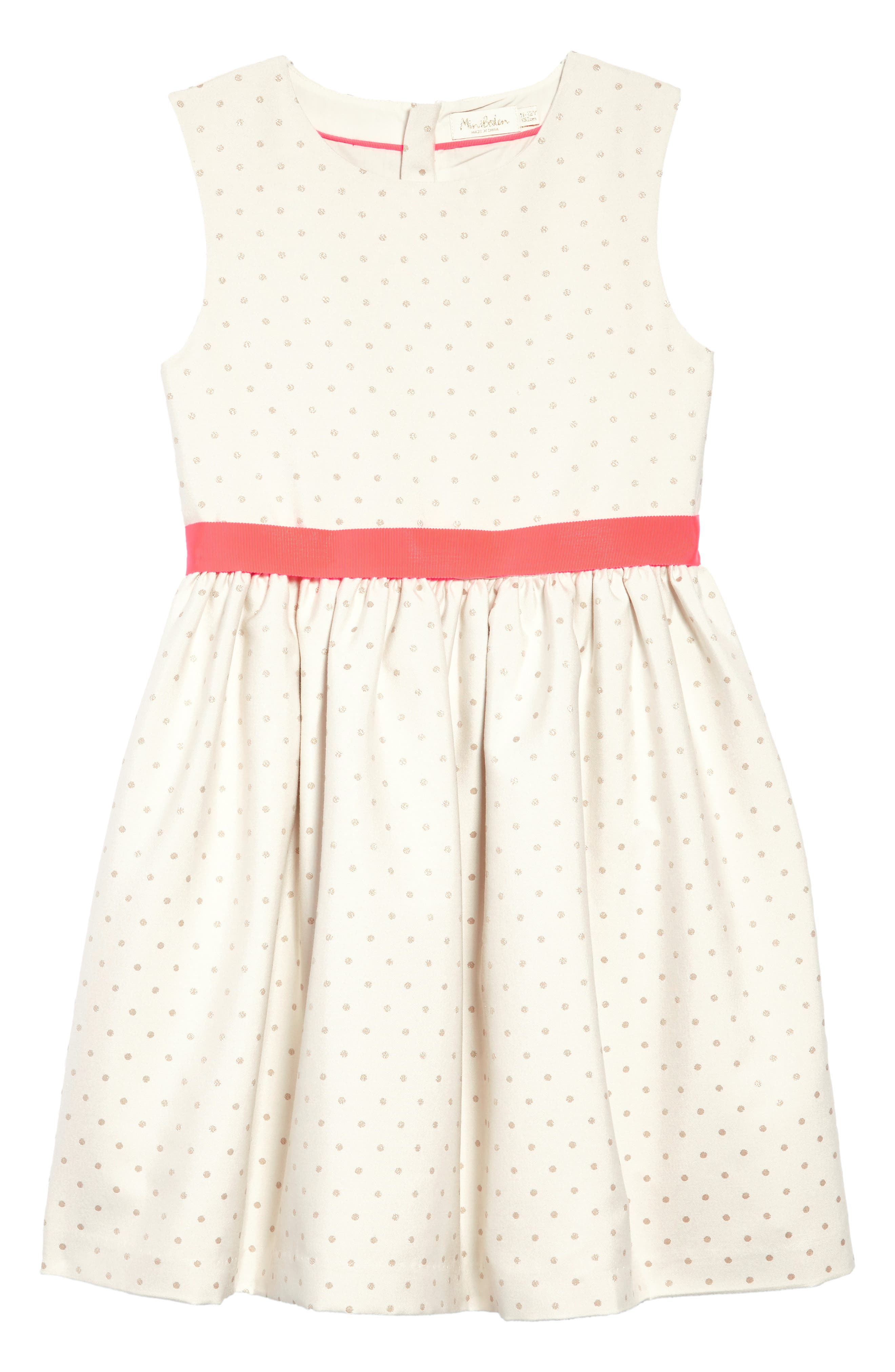 MINI BODEN Metallic Dot Fit & Flare Dress, Main, color, 909