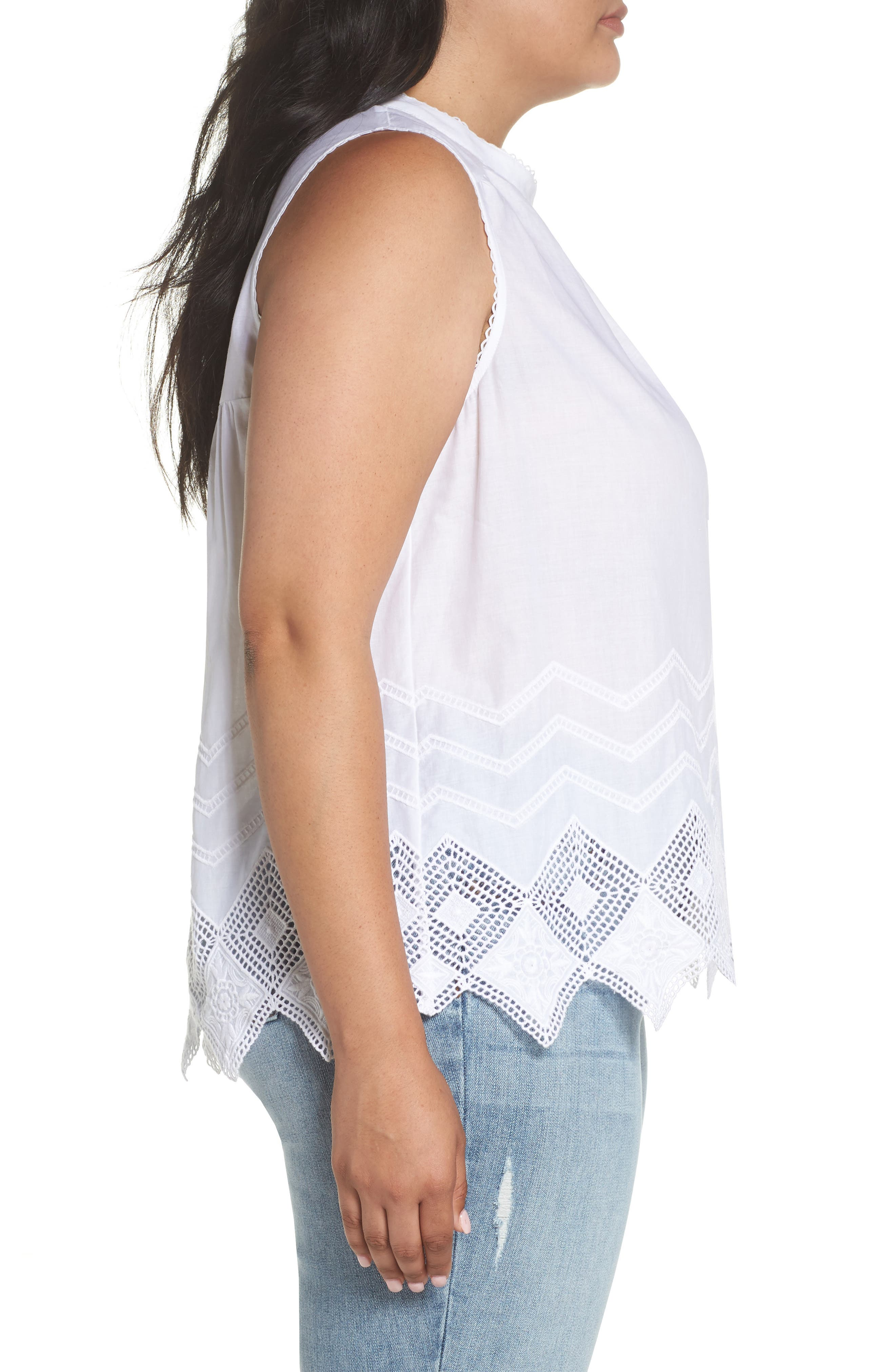 Embroidered Hem Top,                             Alternate thumbnail 3, color,                             100