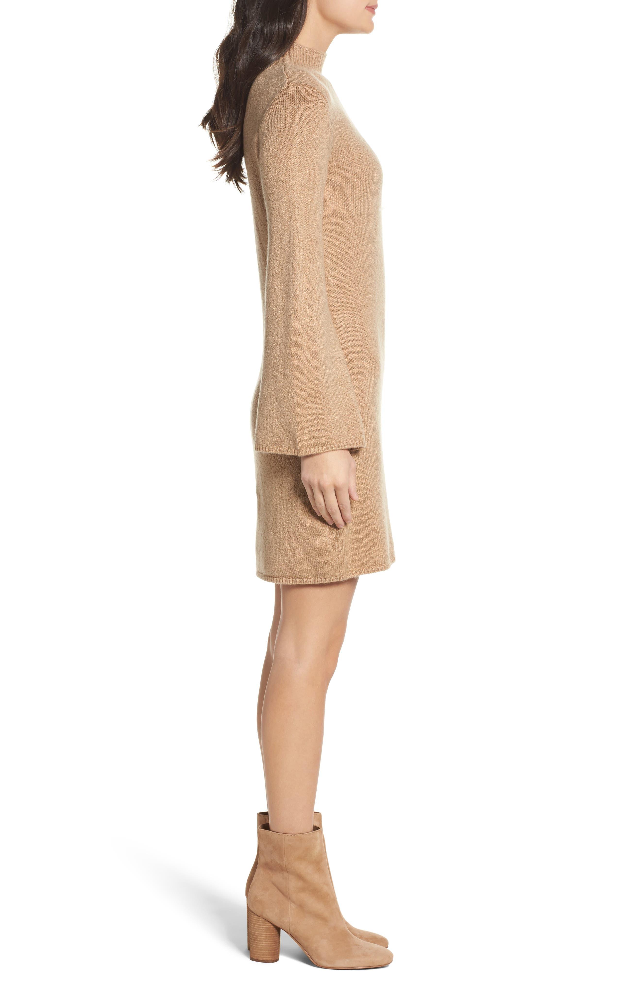 Bell Sleeve Knit Dress,                             Alternate thumbnail 3, color,                             208