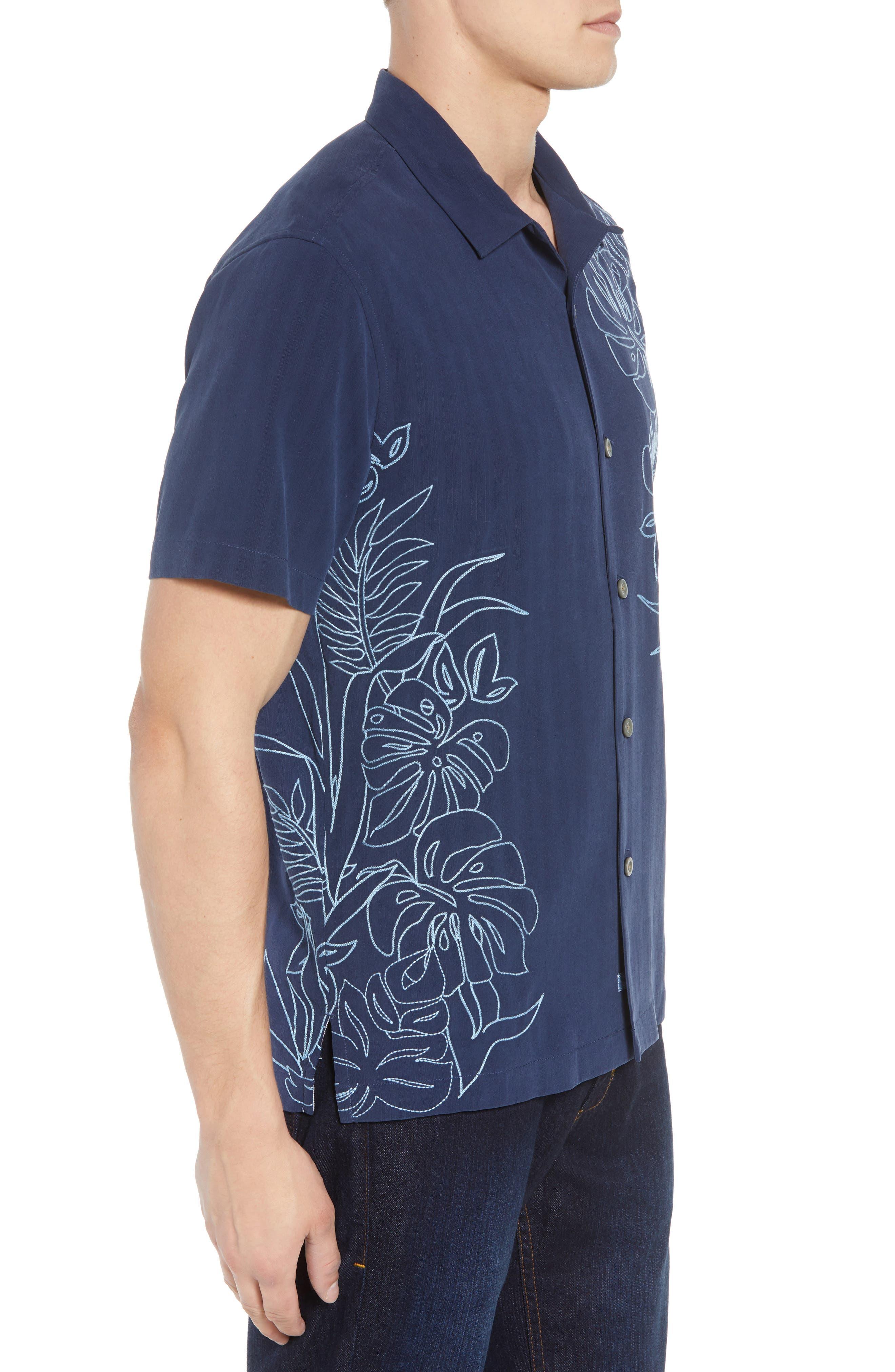 Playa Palmas Silk Camp Shirt,                             Alternate thumbnail 3, color,                             OCEAN DEEP