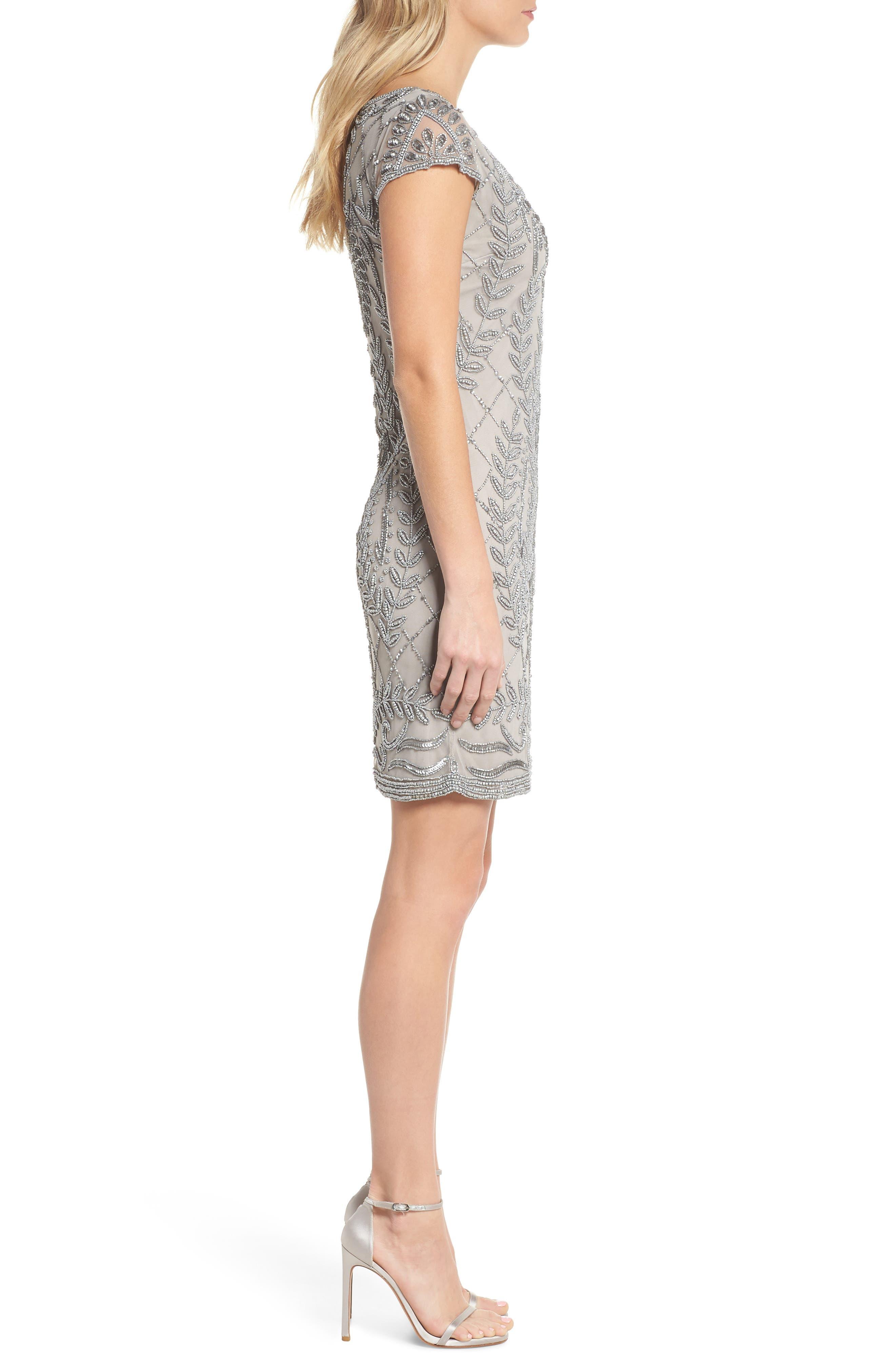 Beaded Sheath Dress,                             Alternate thumbnail 3, color,                             SILVER