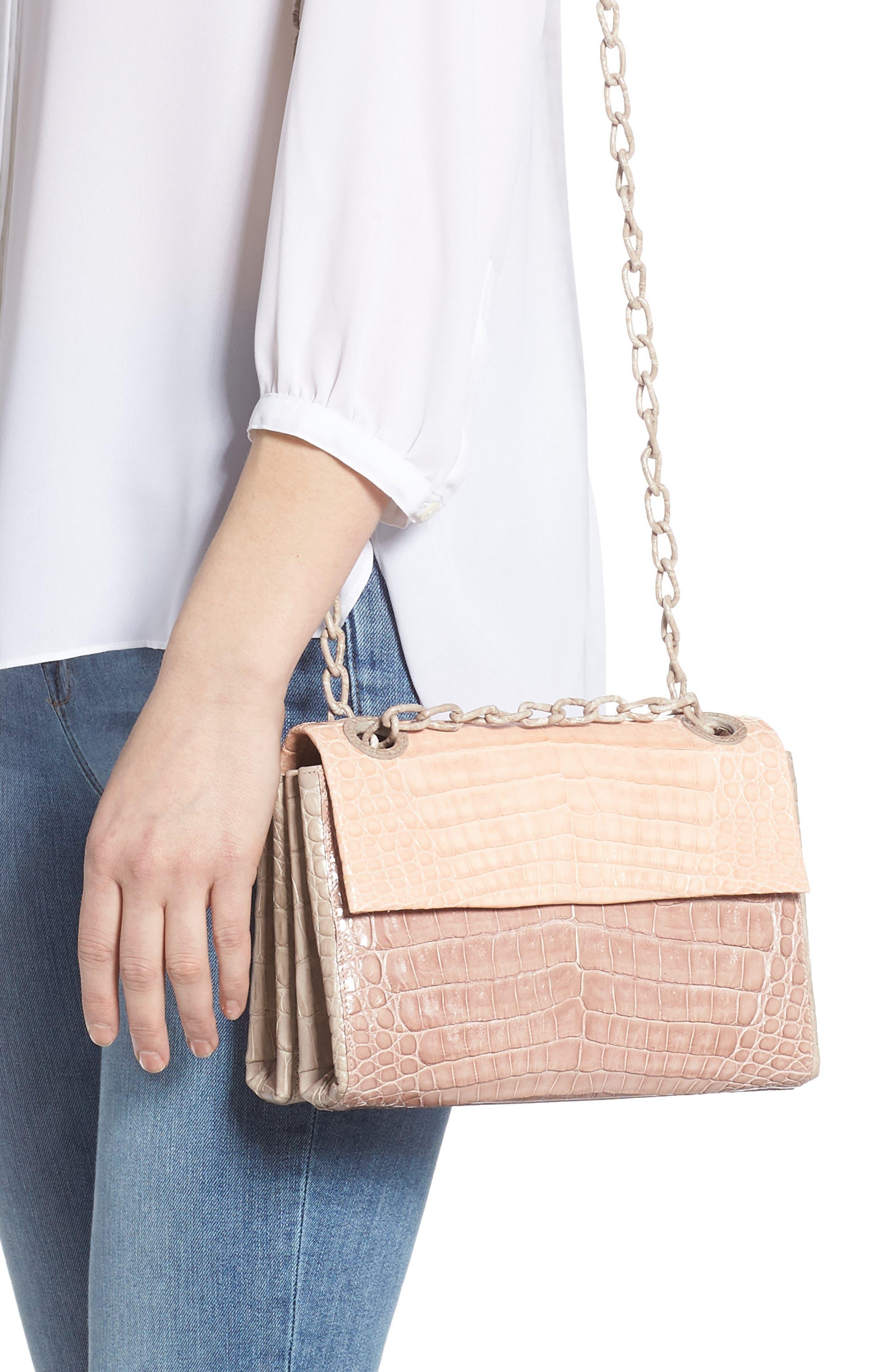 Small Madison Genuine Crocodile Shoulder Bag,                             Alternate thumbnail 3, color,                             NUDE/ TAUPE/ BLUSH