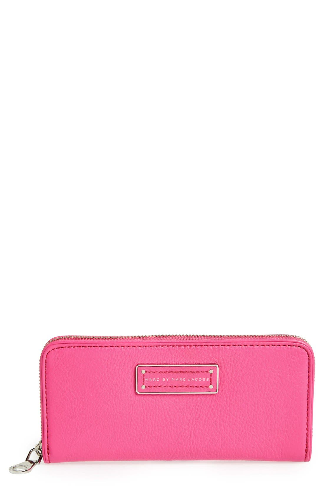MARC JACOBS,                             MARC BY MARC JACOBS 'Too Hot To Handle - Slim' Zip Around Wallet,                             Main thumbnail 1, color,                             500