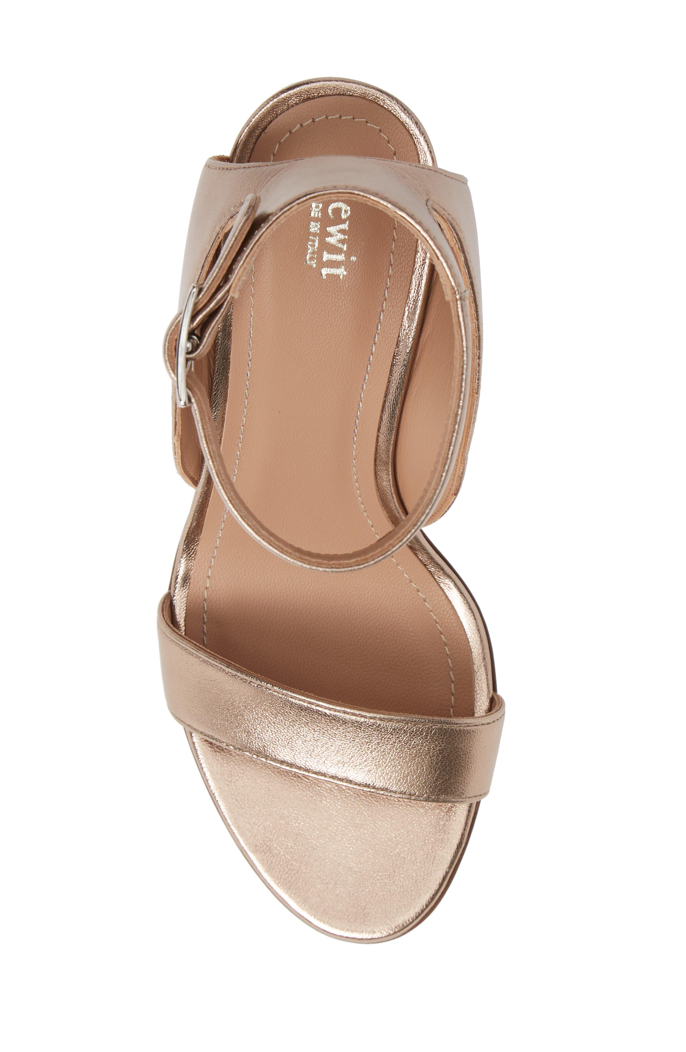 Guilia Block Heel Sandal,                             Alternate thumbnail 5, color,                             BRONZE LEATHER