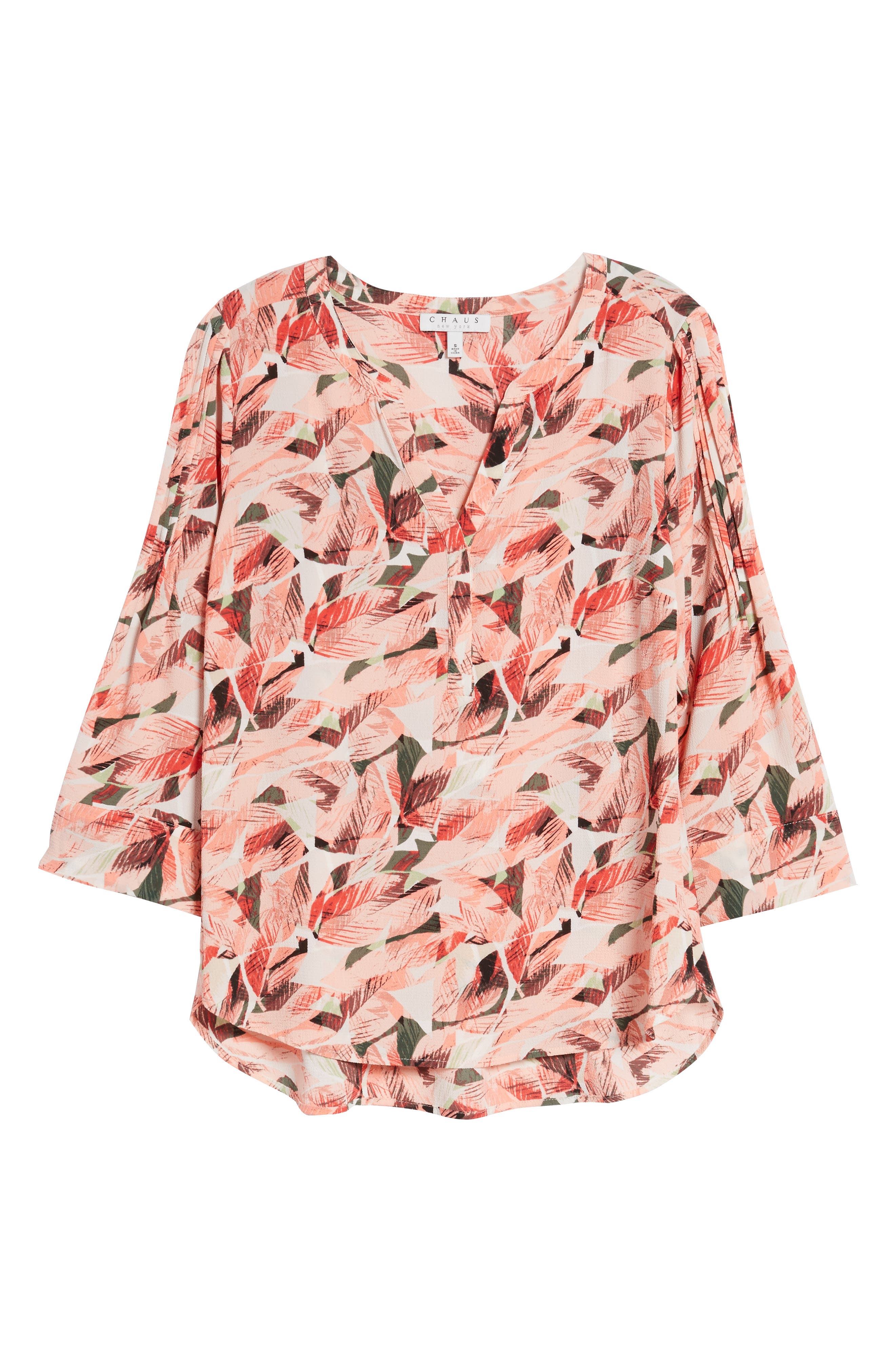 Tropical Print Pleated Sleeve Top,                             Alternate thumbnail 7, color,                             650