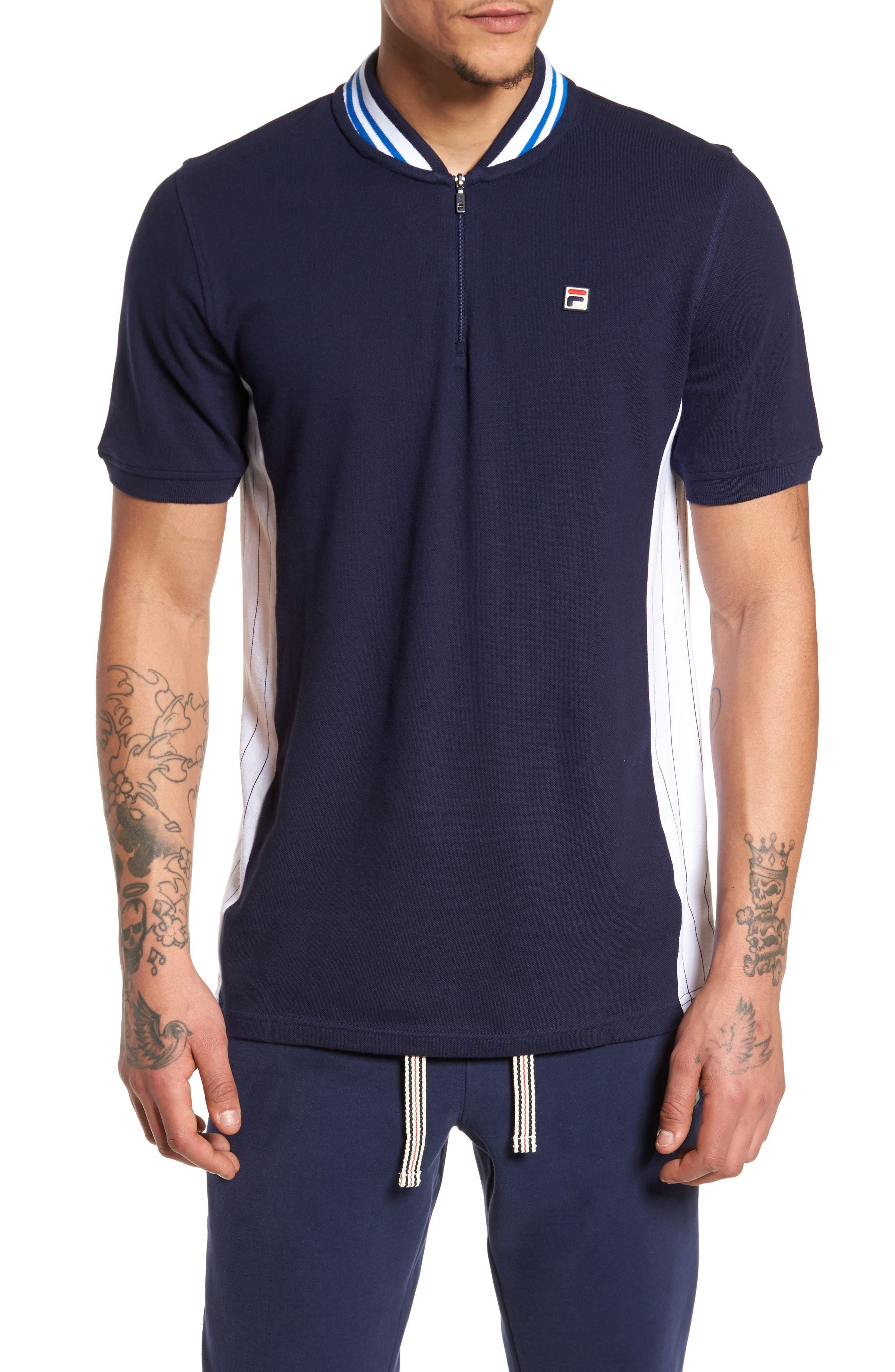 Moretti Short Sleeve Zip Henley Shirt,                             Main thumbnail 1, color,                             001