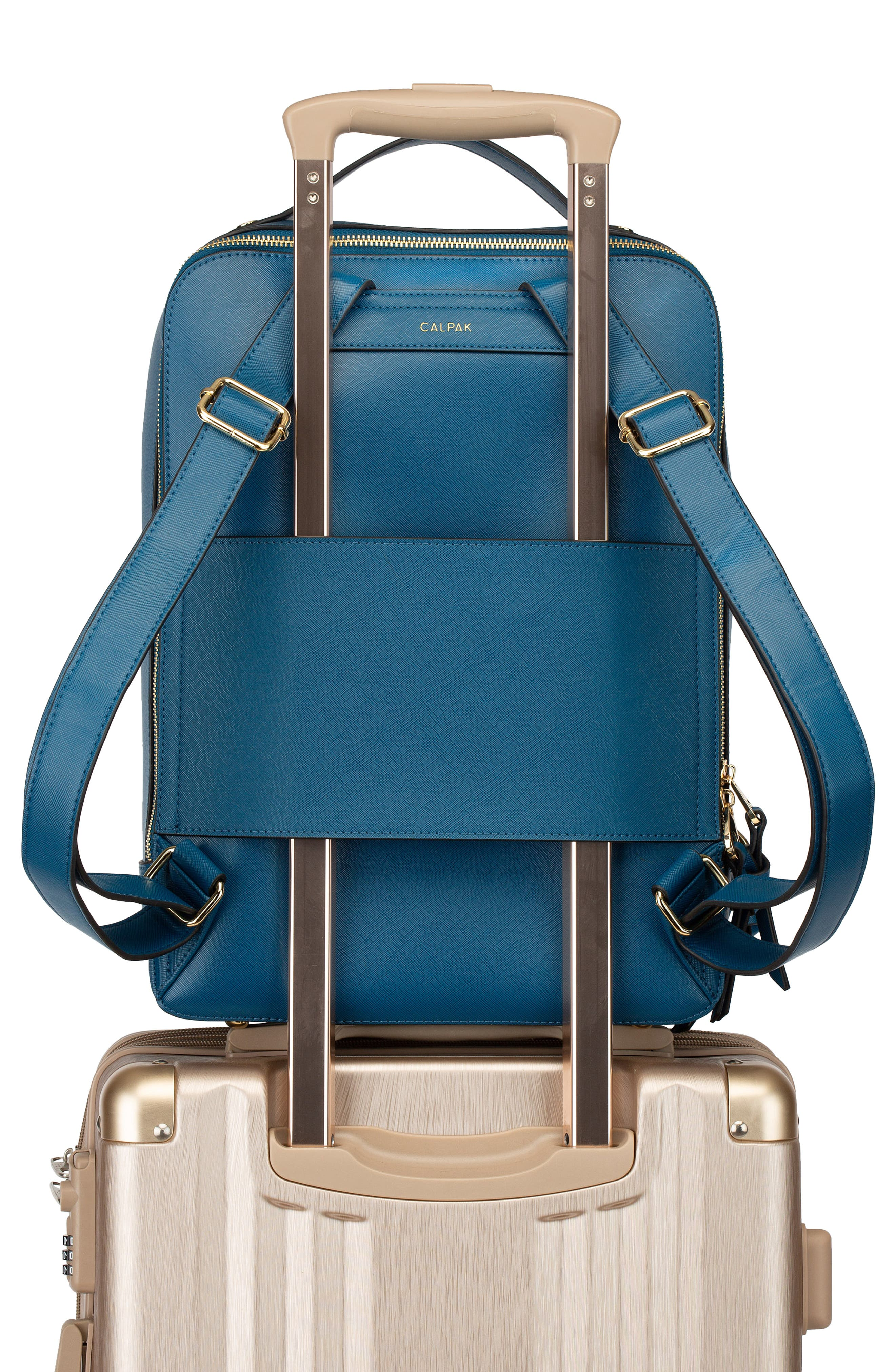 Kaya Faux Leather 15-Inch Laptop Backpack,                             Alternate thumbnail 5, color,                             DEEP BLUE