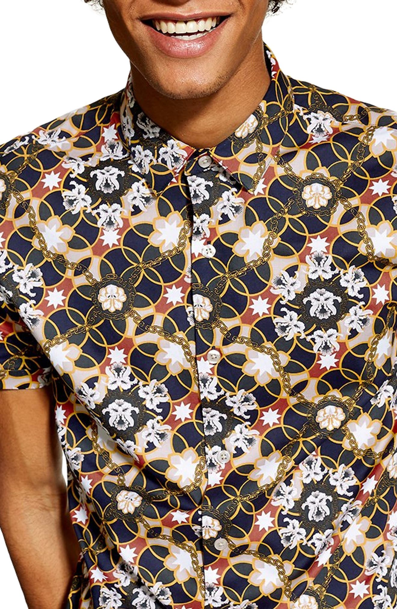 Star Floral Skinny Smart Woven Shirt,                             Alternate thumbnail 2, color,                             BLUE MULTI