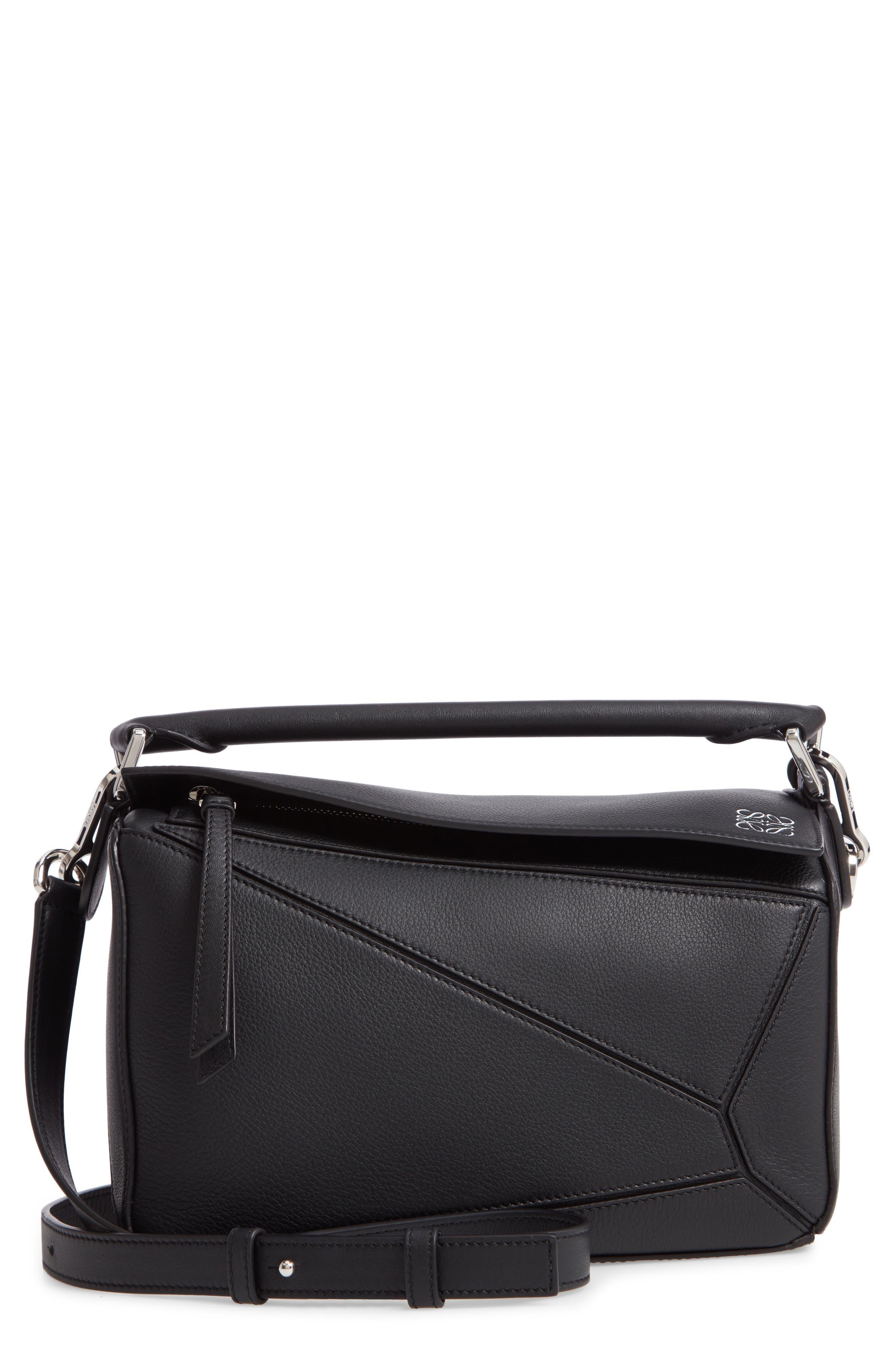 Small Puzzle Shoulder Bag,                             Main thumbnail 1, color,                             BLACK