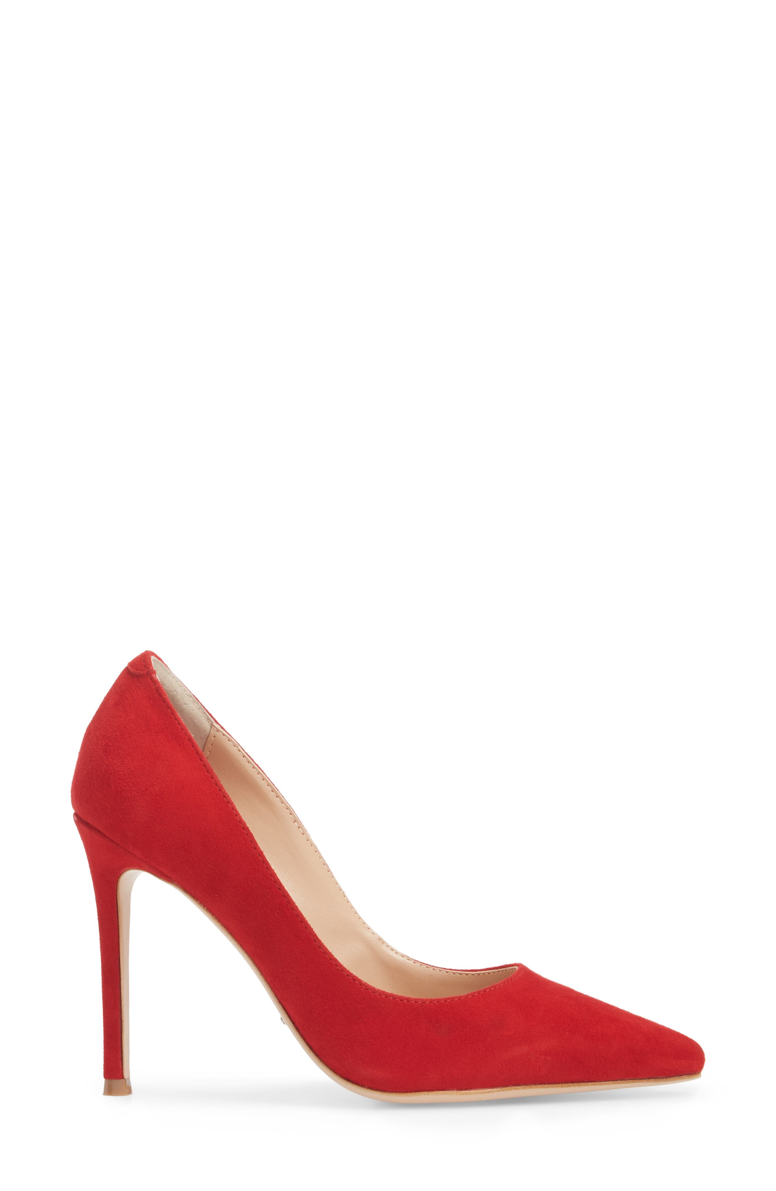 Lotus Pointy Toe Pump,                             Alternate thumbnail 3, color,                             FIRE SUEDE
