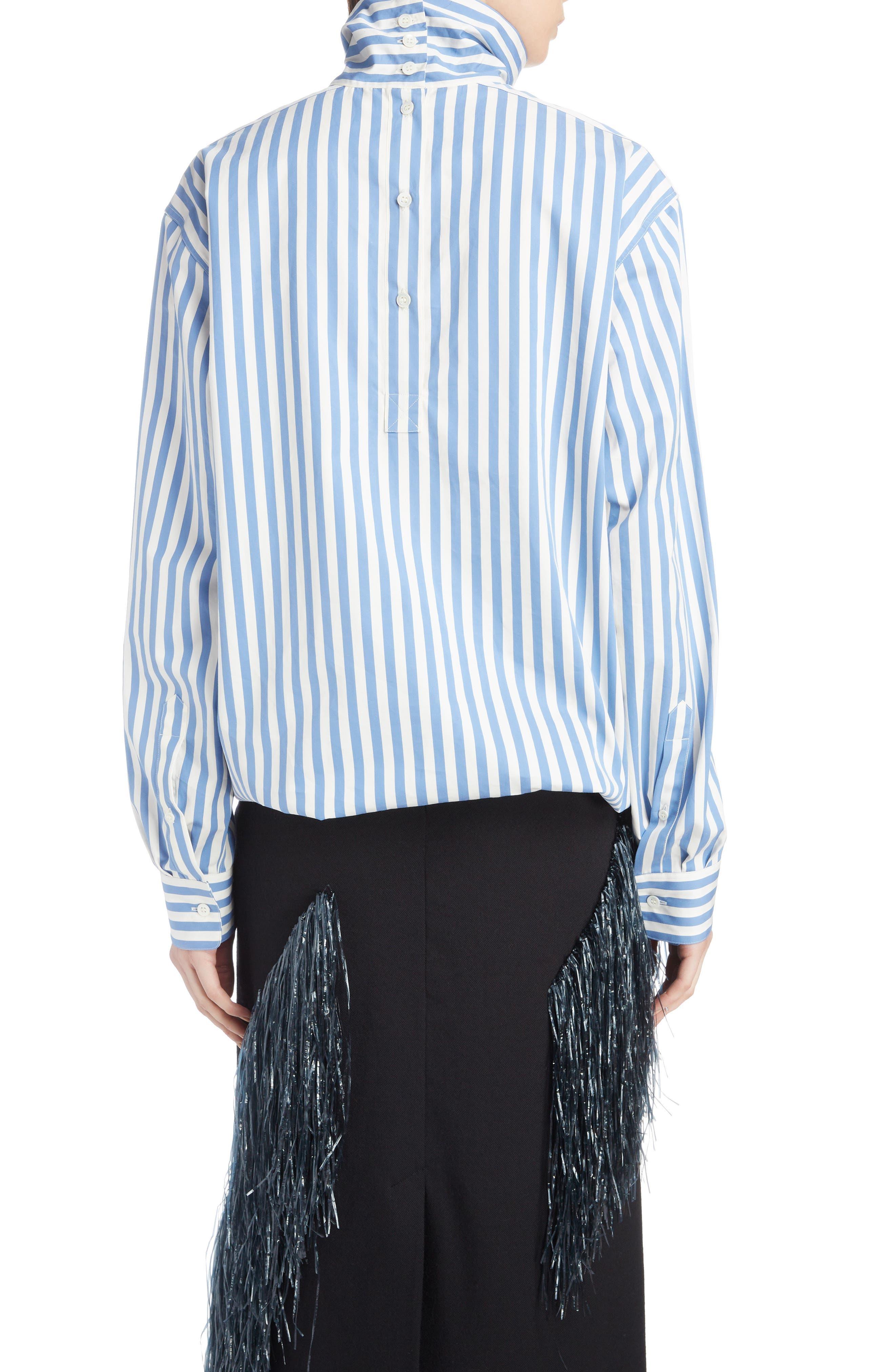 Stripe Poplin Blouse,                             Alternate thumbnail 2, color,                             MADONNA BLUE
