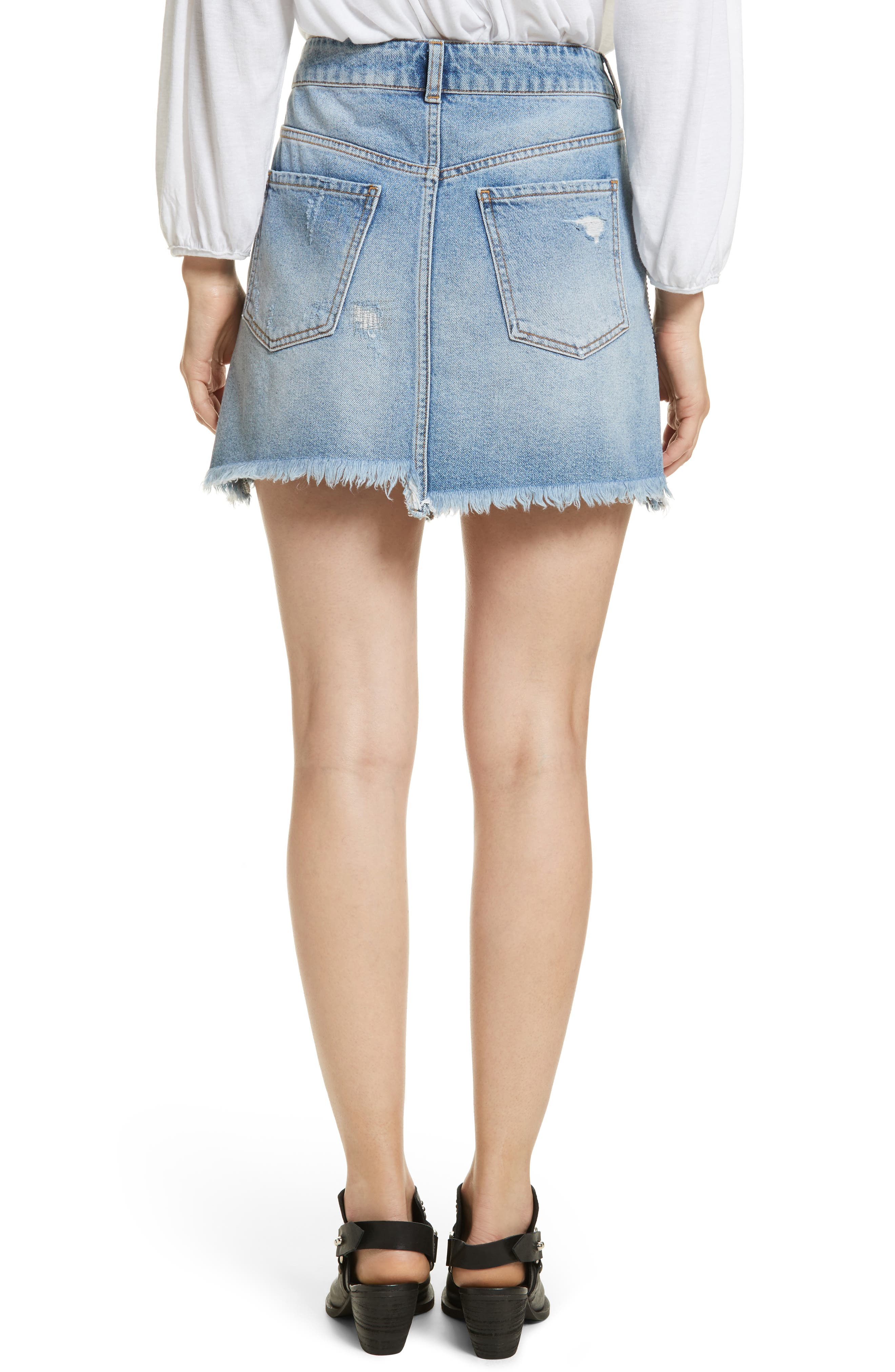 FREE PEOPLE,                             Side Stripe Embellished Miniskirt,                             Alternate thumbnail 2, color,                             400