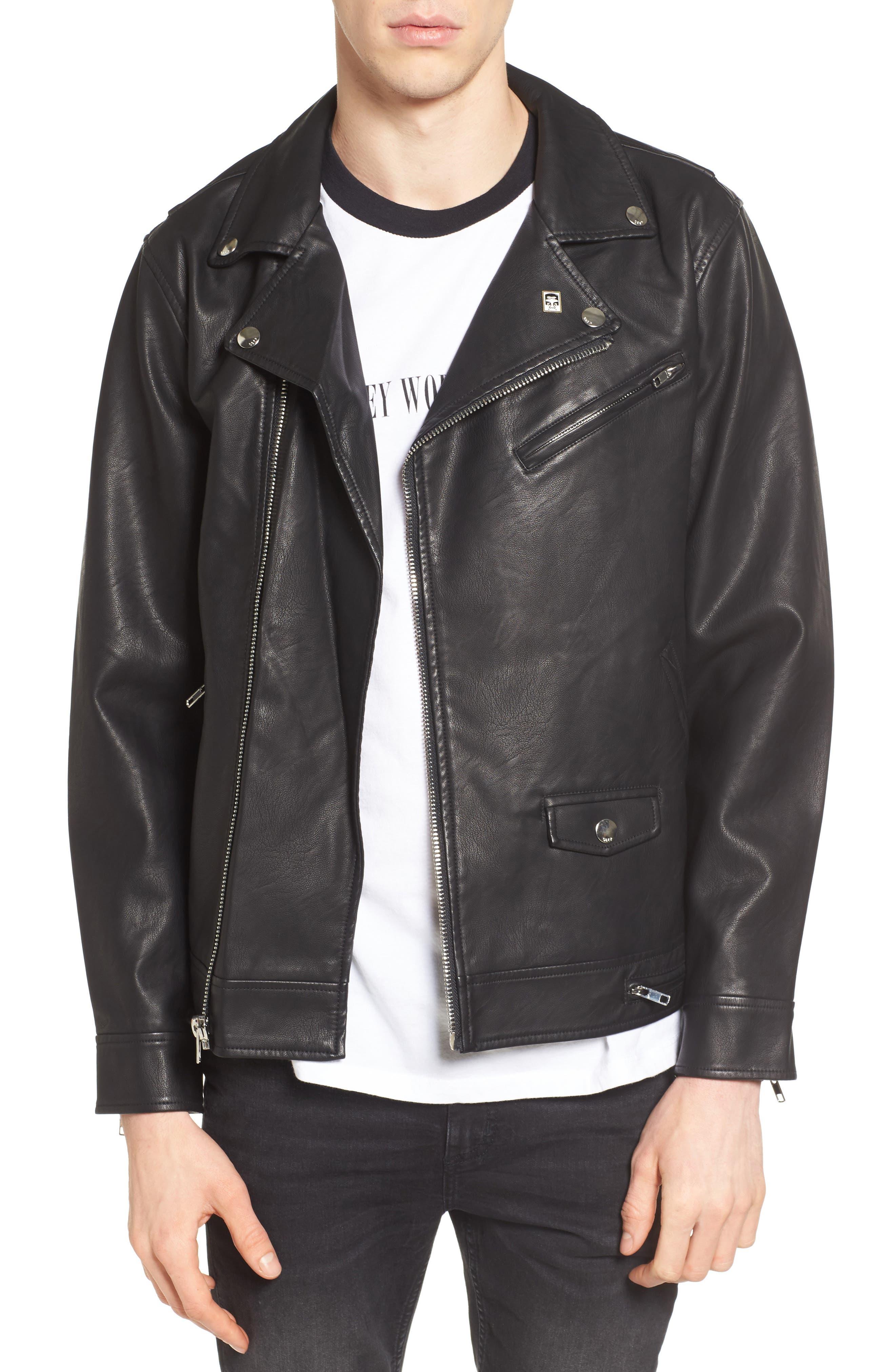Bastards Faux Leather Biker Jacket,                         Main,                         color, BLACK