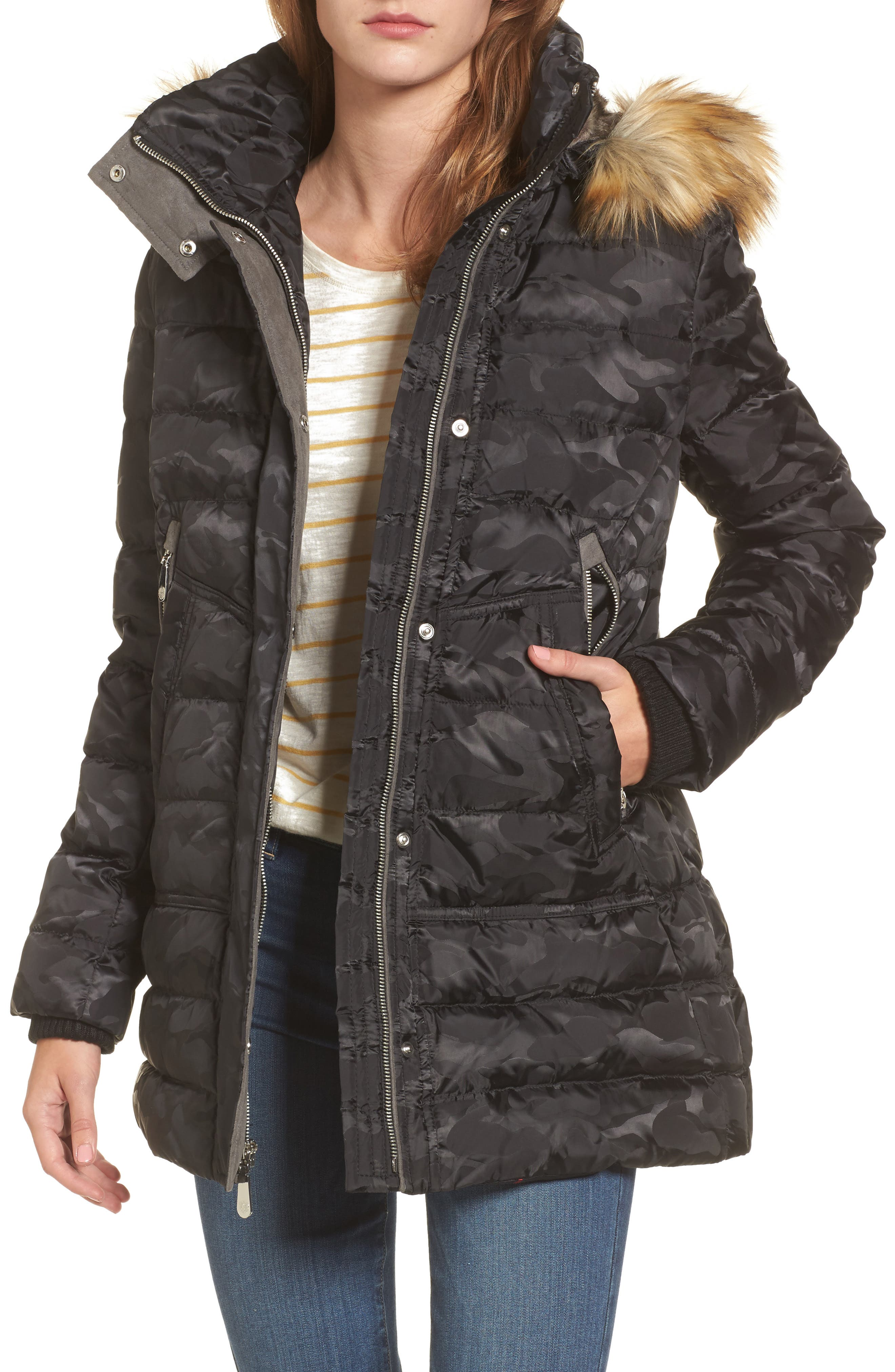 Quilted Coat with Faux Fur Trim Hood,                             Main thumbnail 1, color,                             016
