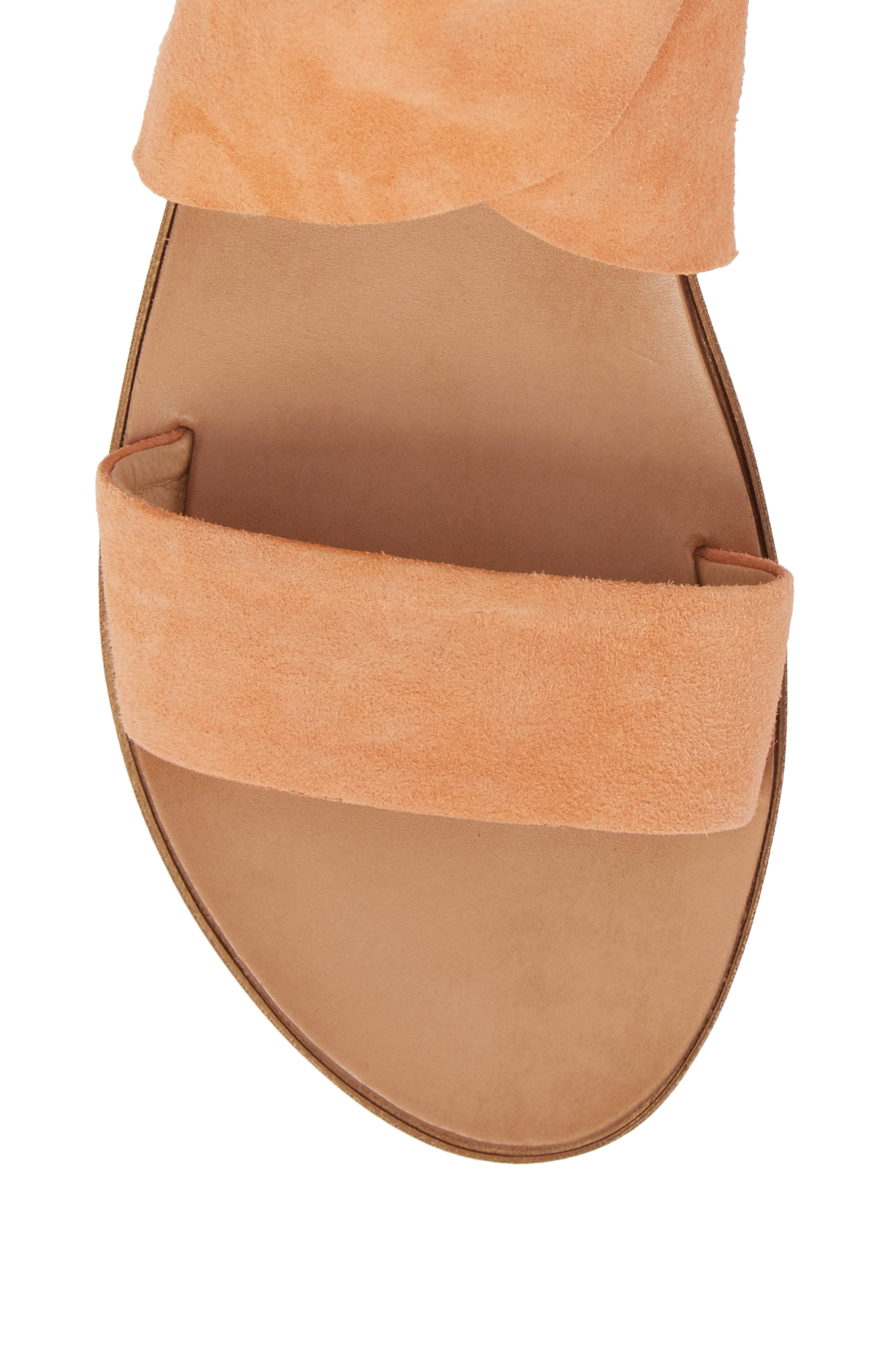 Cruisin Ankle Wrap Sandal,                             Alternate thumbnail 5, color,                             PEACH SUEDE