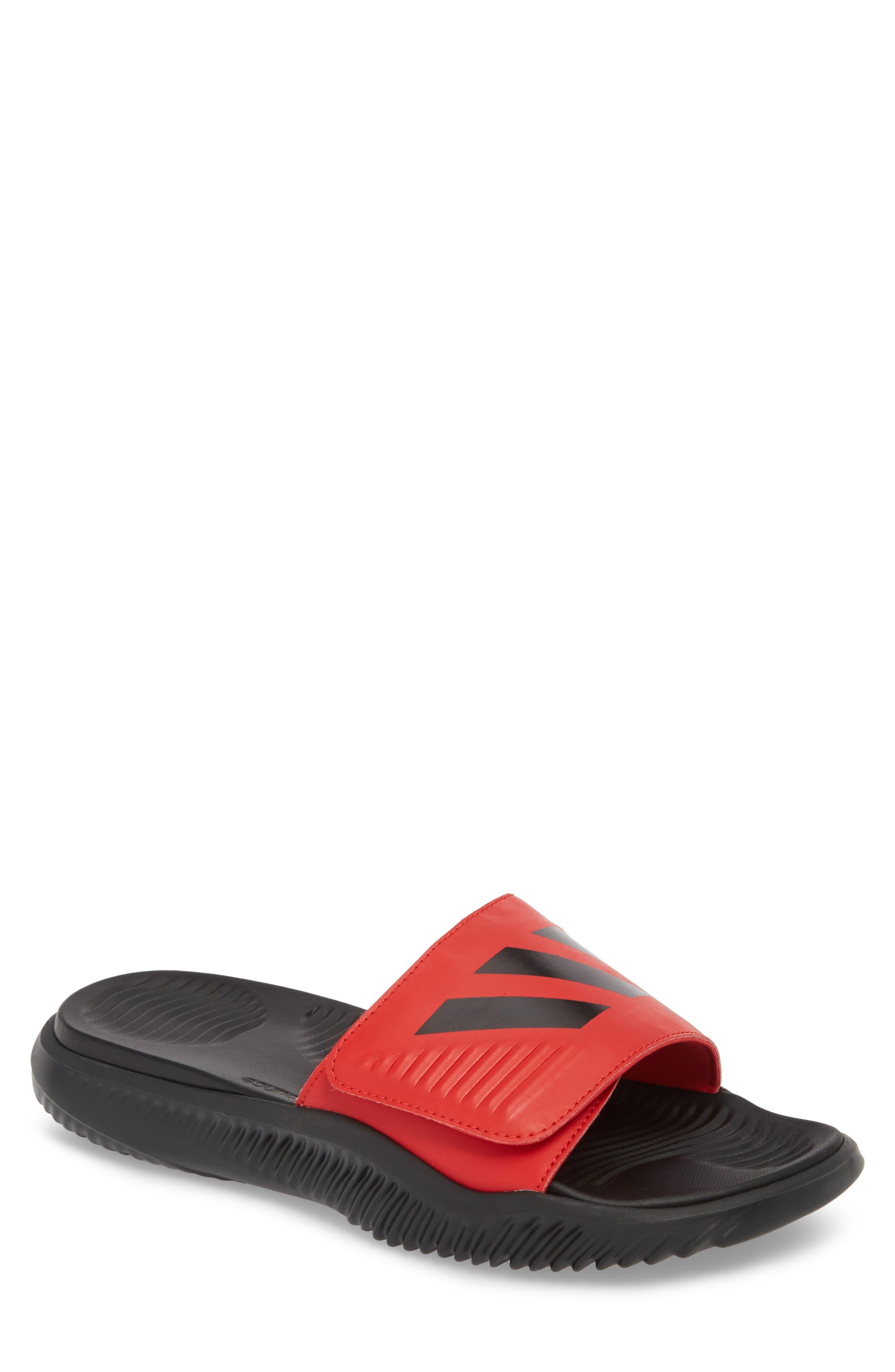 AlphaBounce Slide Sandal,                             Main thumbnail 1, color,                             SCARLET/ BLACK